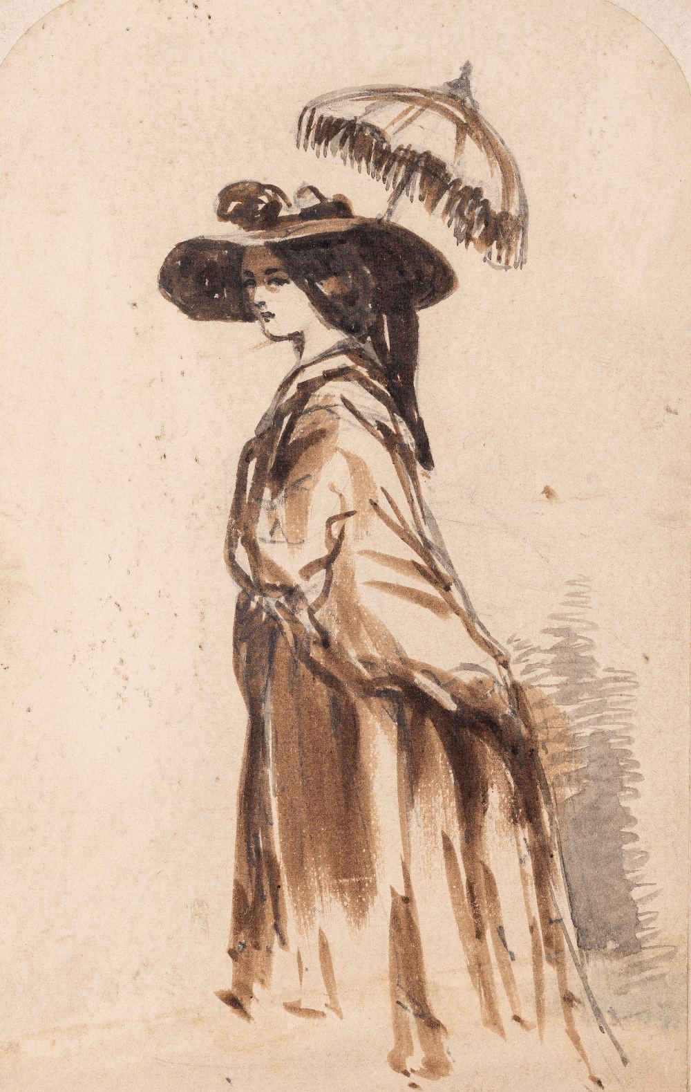 Lot 35 - ATTRIBUTED TO CONSTANTIN GUYS (1802-1892) A LADY WITH A PARASOL india ink, pencil & wash 12.4 x 7.