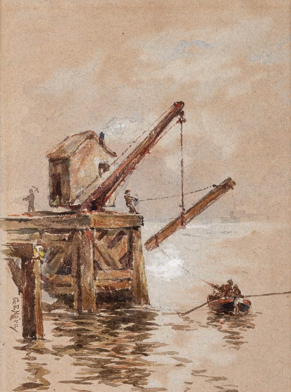 Lot 99 - GERALD EDWARD MOIRA, R.W.S., R.O.I. (1867-1959) A SHIPPING SCENE signed l.l. GE Moira watercolour