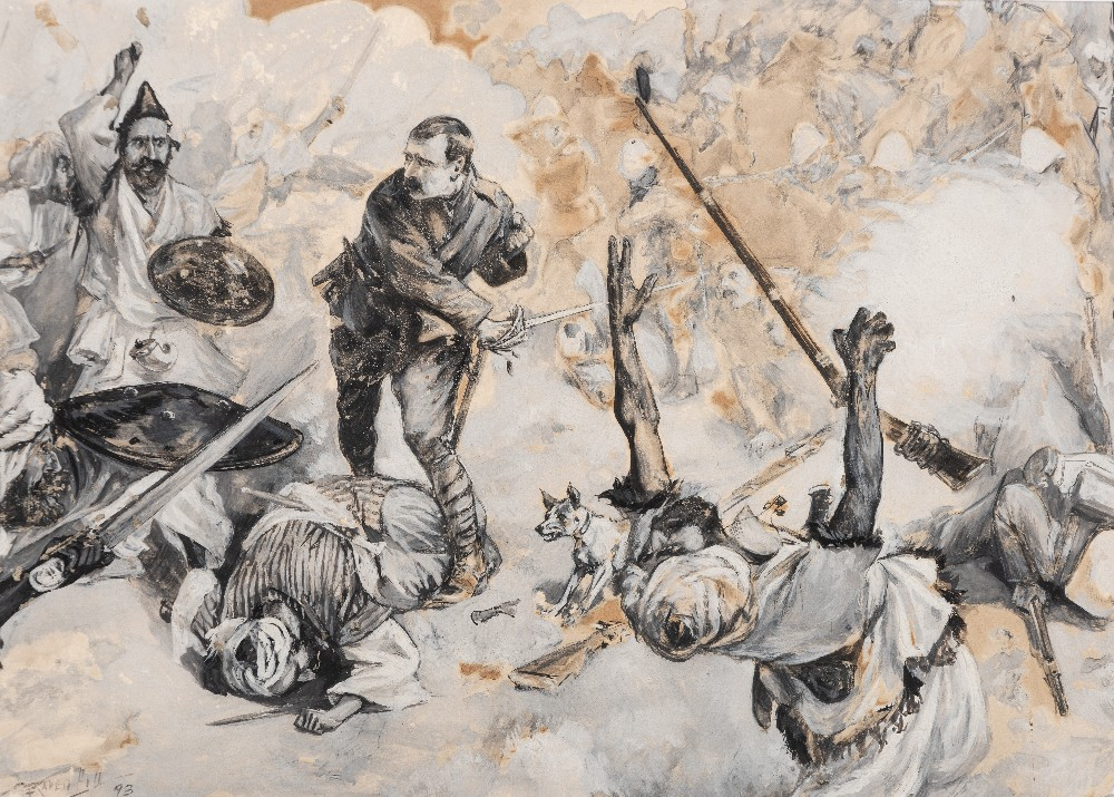 Lot 166 - LEONARD RAVEN-HILL (1857-1942) HE RAN INTO THE MIDST OF THE ENEMY signed and dated l.l. 93 pen & ink