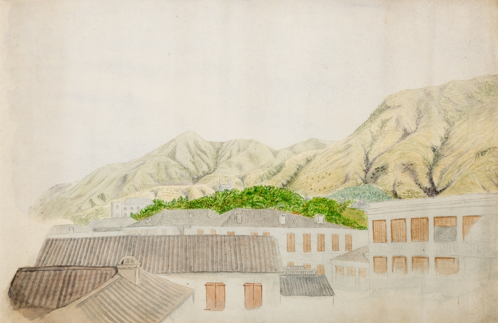 Lot 167 - COLONIAL SCHOOL (19th CENTURY) A VIEW OF JAMESTOWN, ST HELENA watercolour 29.7 x 45.7cm / 11 3/4 x