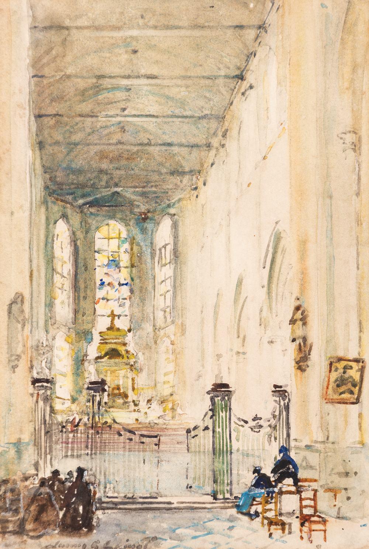 Lot 98 - JAMES GARDEN LAING, R.S.W. (1852-1915) COLLÉGIALE SAINT WULFRAN, ABBEVILLE, FRANCE Signed l.l. James