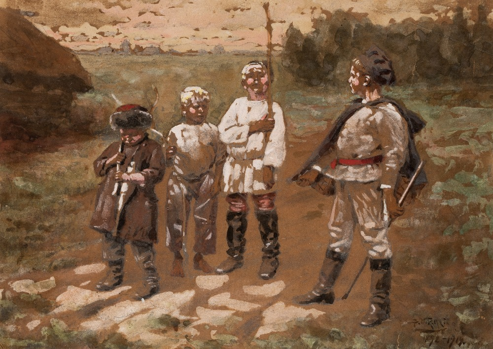 Lot 217 - VLADIMIR MAKOVSKY (1846-1920) LITTLE SOLDIERS signed in cyrillic & dated l.r. pencil,
