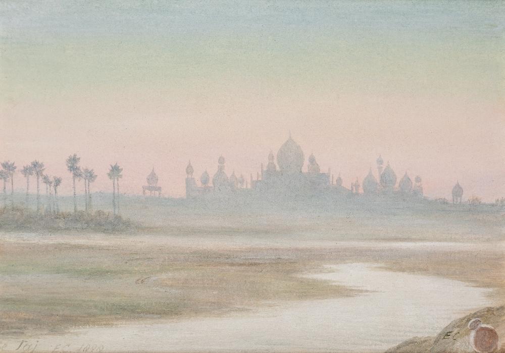 Lot 139 - EDWARD CLIFFORD, R.I. (1844-1907) DAWN AT THE TAJ MAHAL titled, initialled & dated l.l. 1888