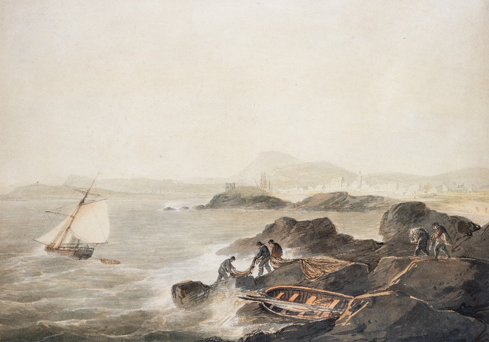 Lot 106 - ATTRIBUTED TO WILLIAM PAYNE (1760-1830) SMUGGLERS BY THE COAST with indistinct inscription visible