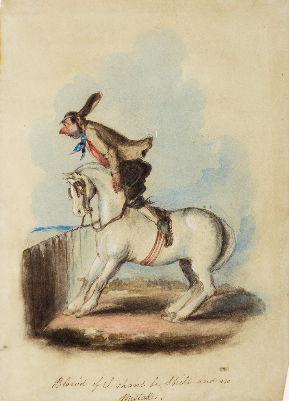 Lot 101 - ATTRIBUTED TO JOHN LEECH (1817-1864) BLOWED IF I SHAN'T BE AND NO MISTAKE pen & ink with coloured