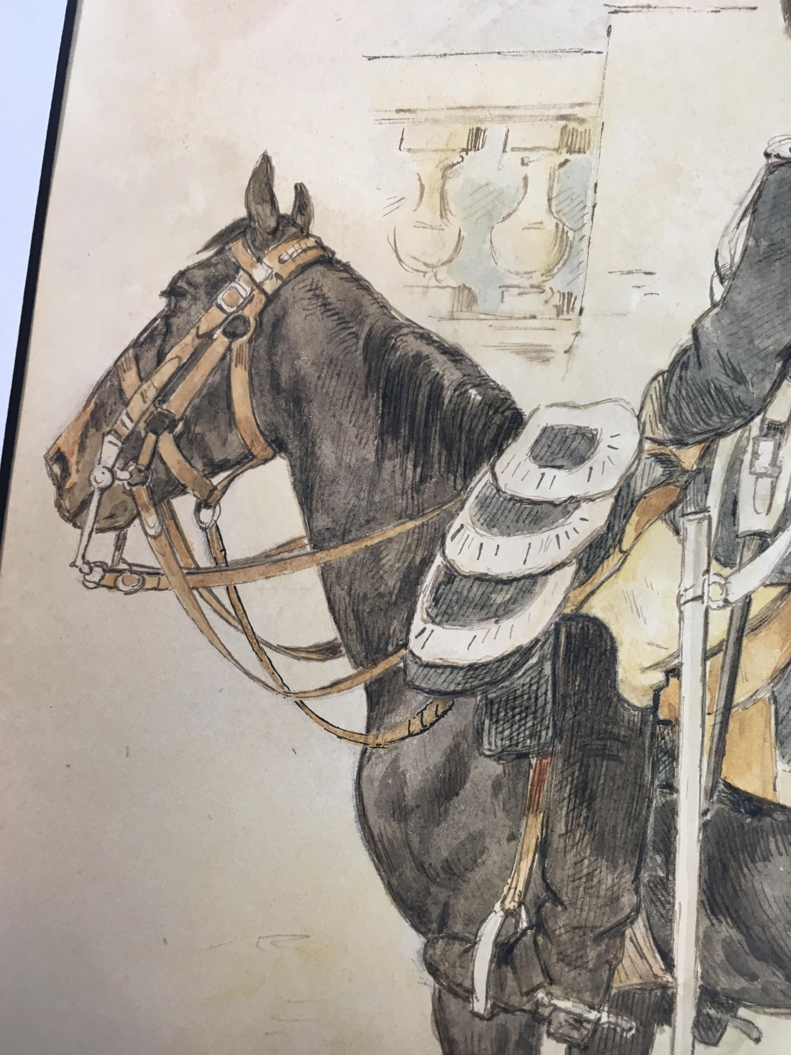 Lot 100 - ALFRED WILLIAM HASSAM (1842-1869) A MOUNTED OFFICER, POSSIBLY A FRENCH HEAVY CAVALRYMAN
