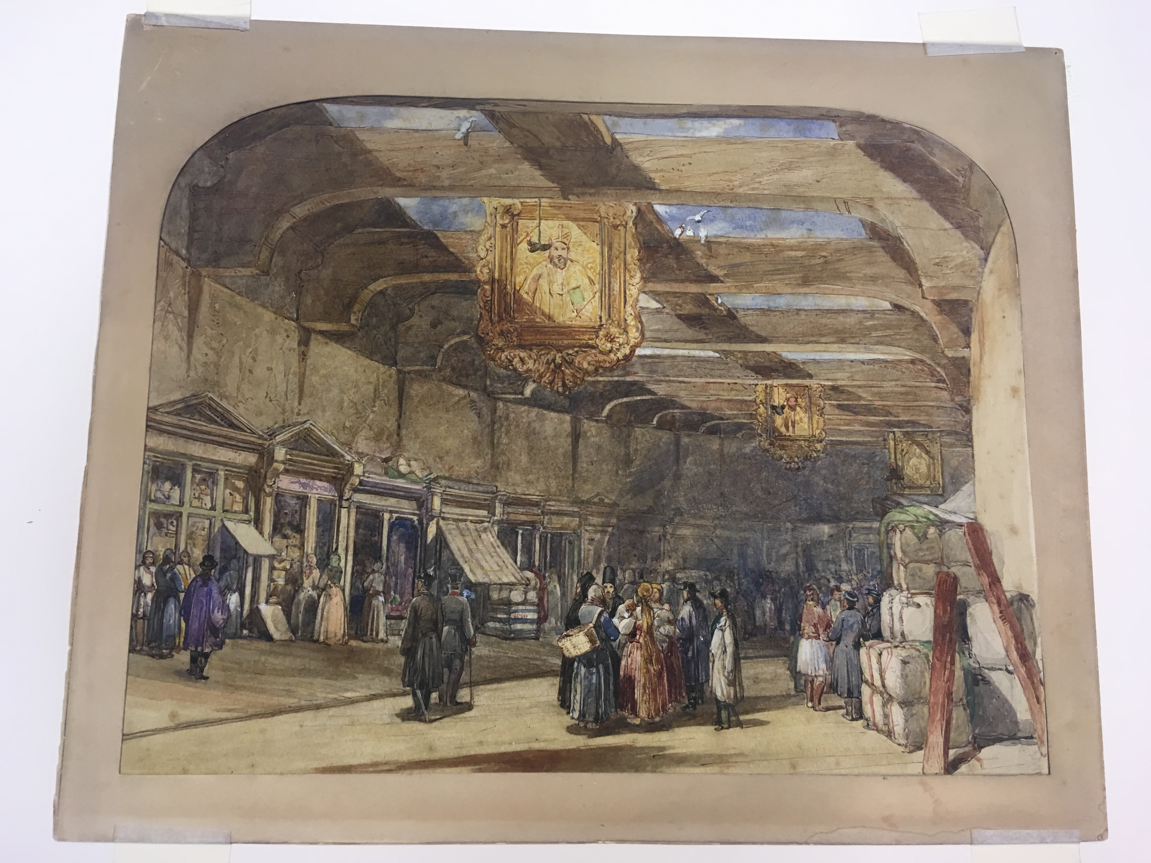Lot 146 - FOLLOWER OF WILLIAM SIMPSON (1823-1899) A GREEK COVERED MARKET with a collector's stamp on