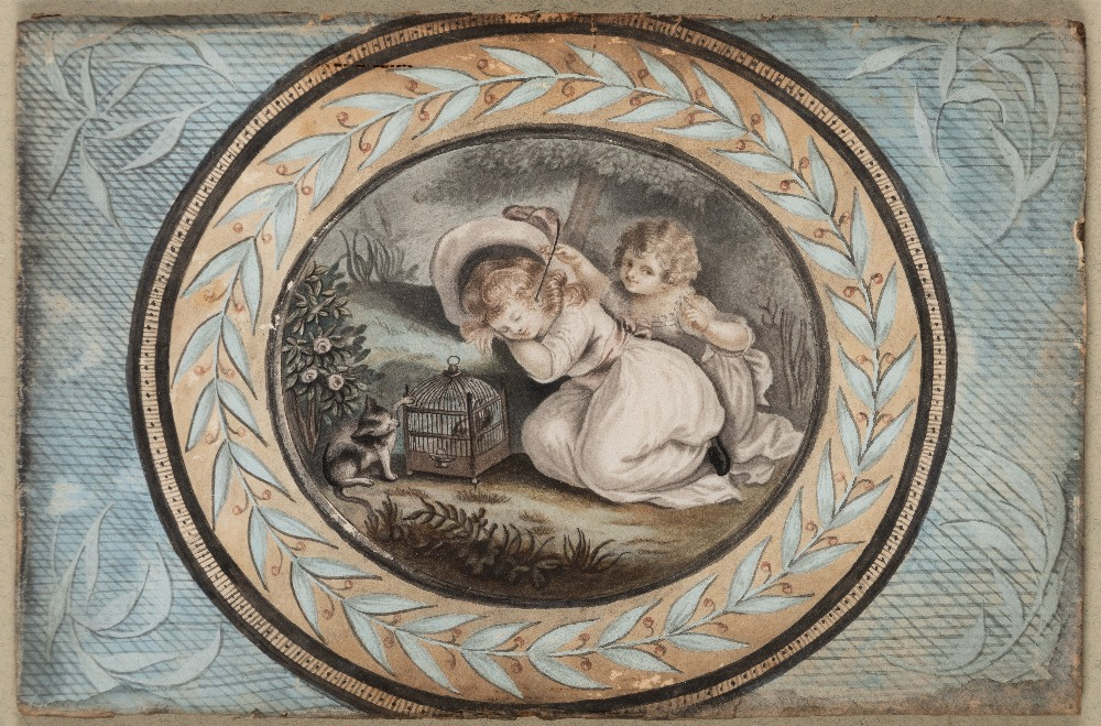 Lot 119 - ATTRIBUTED TO WILLIAM MARSHALL CRAIG (EXHIB. 1788-1827) A PAIR OF WATERCOLOURS OF CHILDREN PLAYING