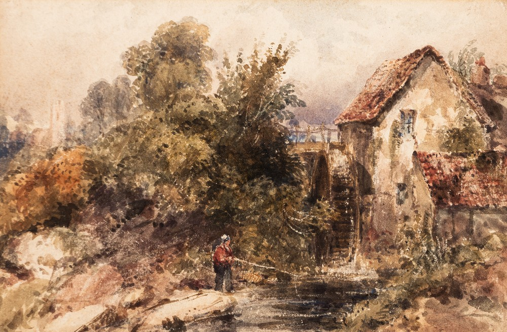 Lot 105 - FREDERICK WATERS WATTS (1800-1870) A MILL NEAR TOTNES watercolour with scratching out 17.0 x 25.