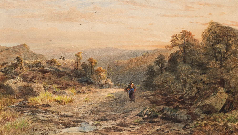 Lot 65 - JAMES WILLIAM WHITTAKER (1828-1876) SUNRISE OVER A RURAL LANDSCAPE signed & dated l.l. 1873