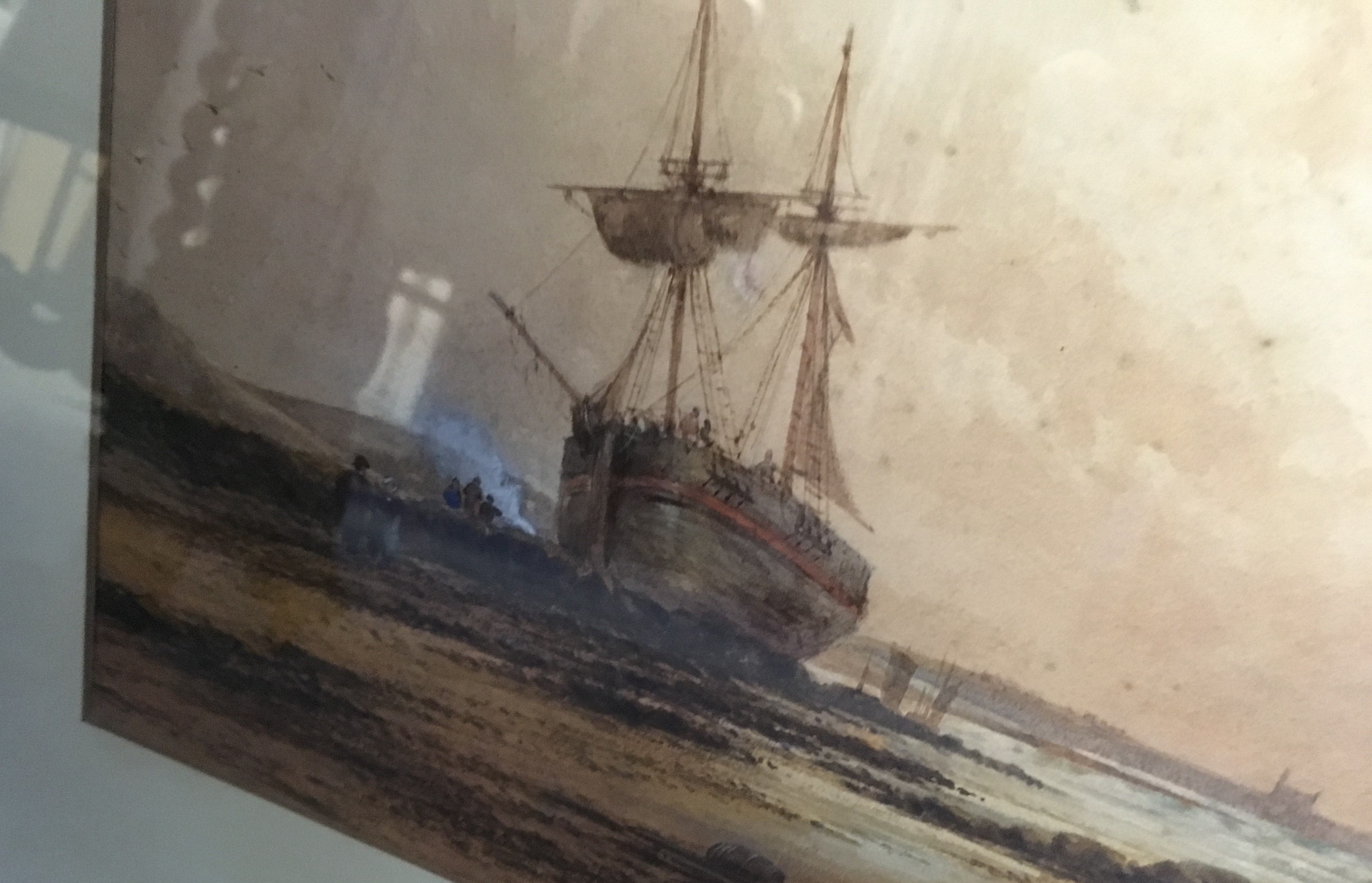 Lot 92 - □ MANNER OF DAVID COX Jr. A BEACHED SHIP bears signature & date l.r. D Cox 1836 watercolour with