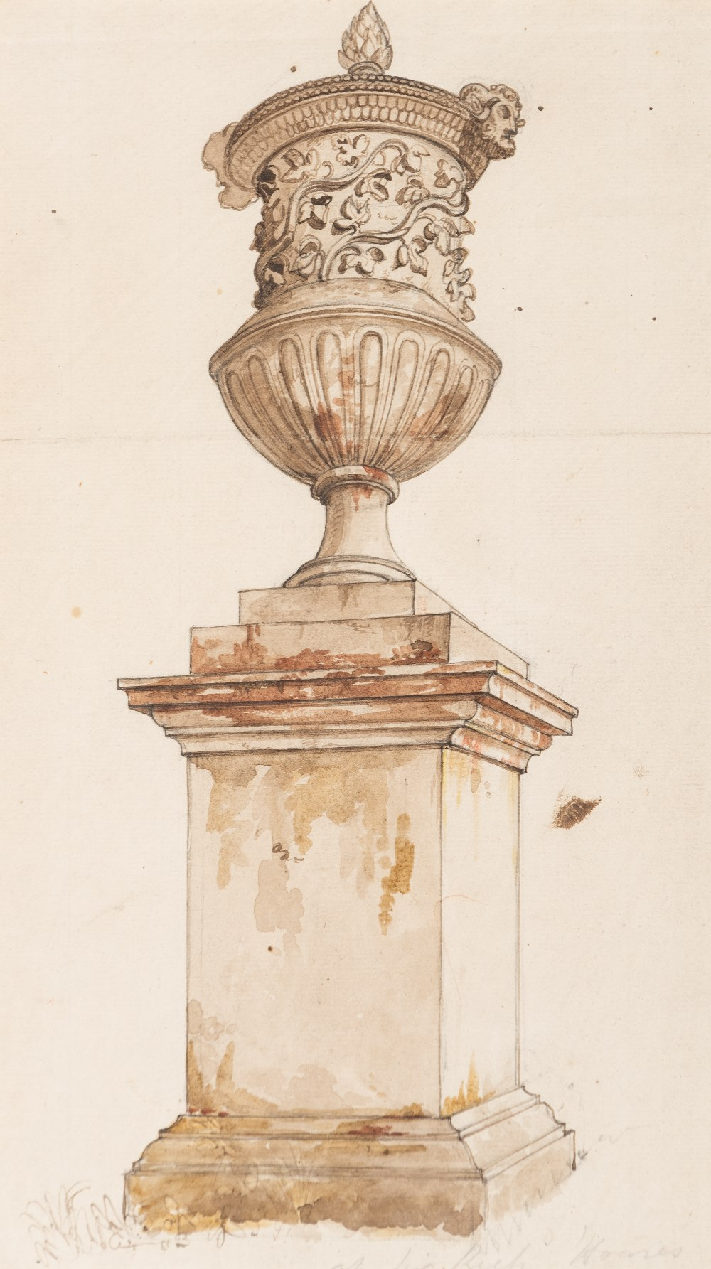 Lot 22 - SAMUEL WOODFORDE, R.A. (1764-1817) A VASE AT STOURHEAD pen & ink with coloured washes inscribed l.r.