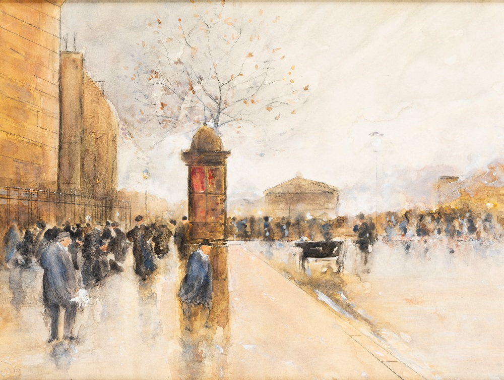 Lot 49 - BELGIAN SCHOOL (EARLY 20th CENTURY) A BUSY STREET SCENE stamped indistinctly l.l. watercolour