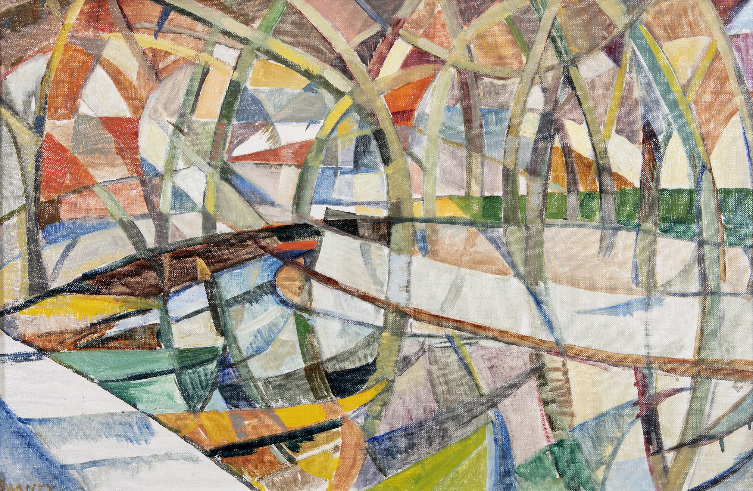 Lot 27 - Mary Swanzy HRHA (1882-1978)Cubist LandscapeOil on canvas, 39.5 x 60cm (15½ x 23¾)SignedThis