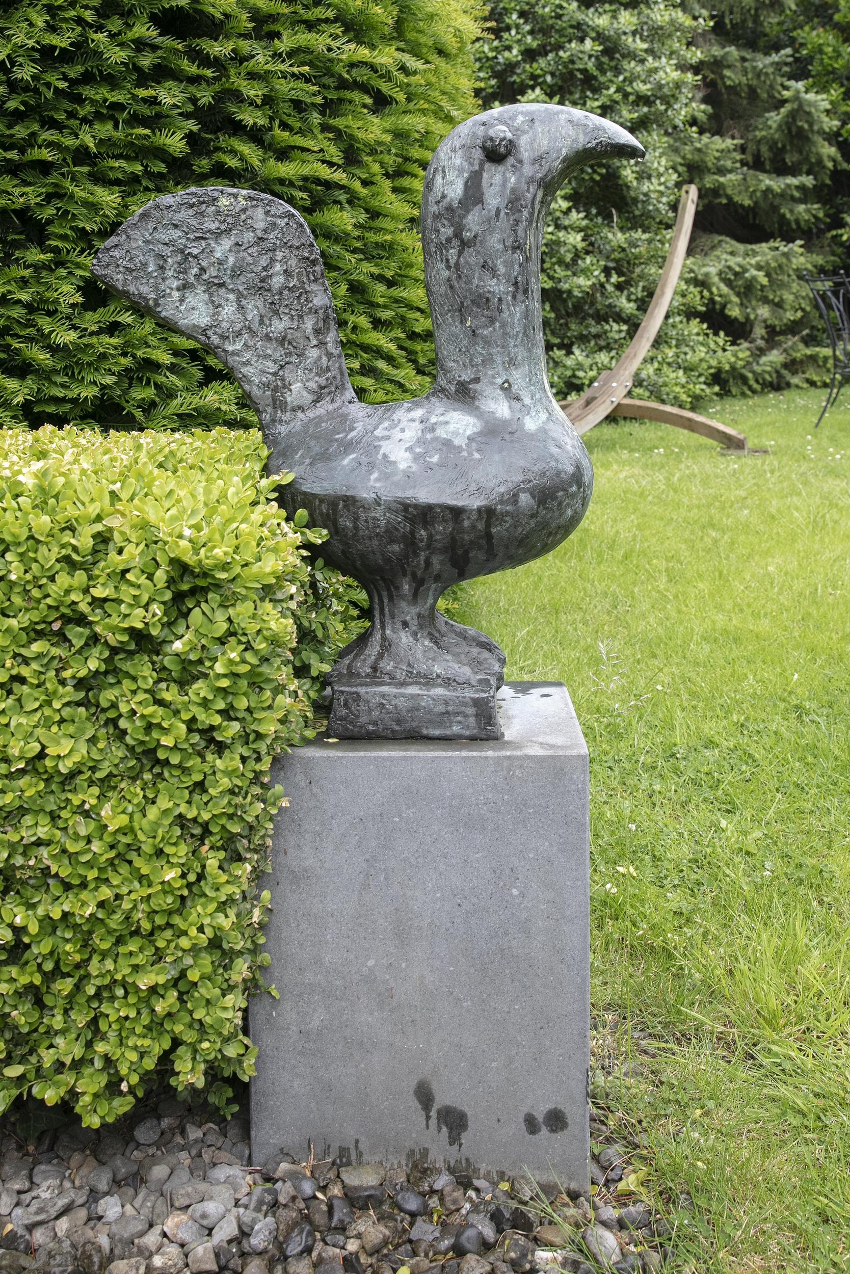 Lot 74 - Breon O'Casey (1928-2011)Dark BirdBronze, 63 x 53 x 26cm (24.8 x 20.8 x 10.2), on a stone