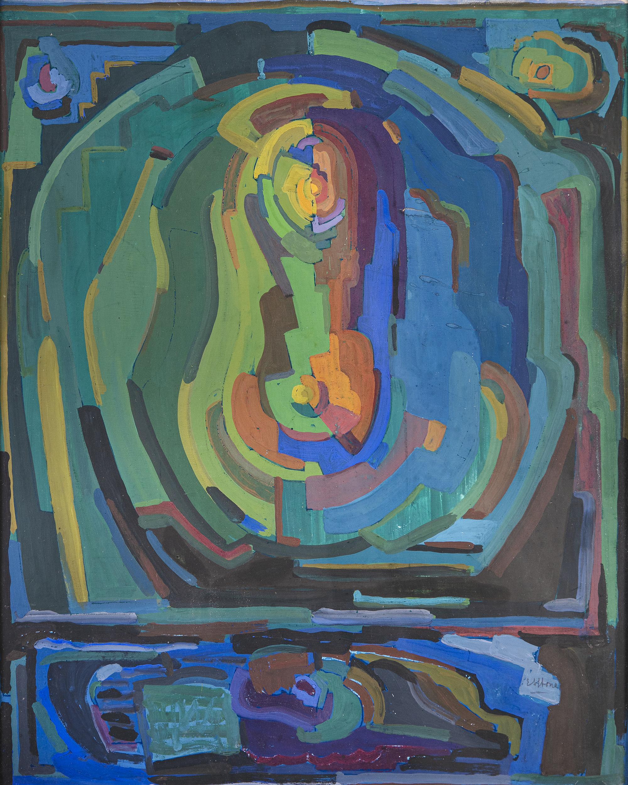 Lot 11 - Evie Hone HRHA (1894-1955)Painting (c.1928)Gouache on paper board, 54 x 42cm (21¼ x 16½)