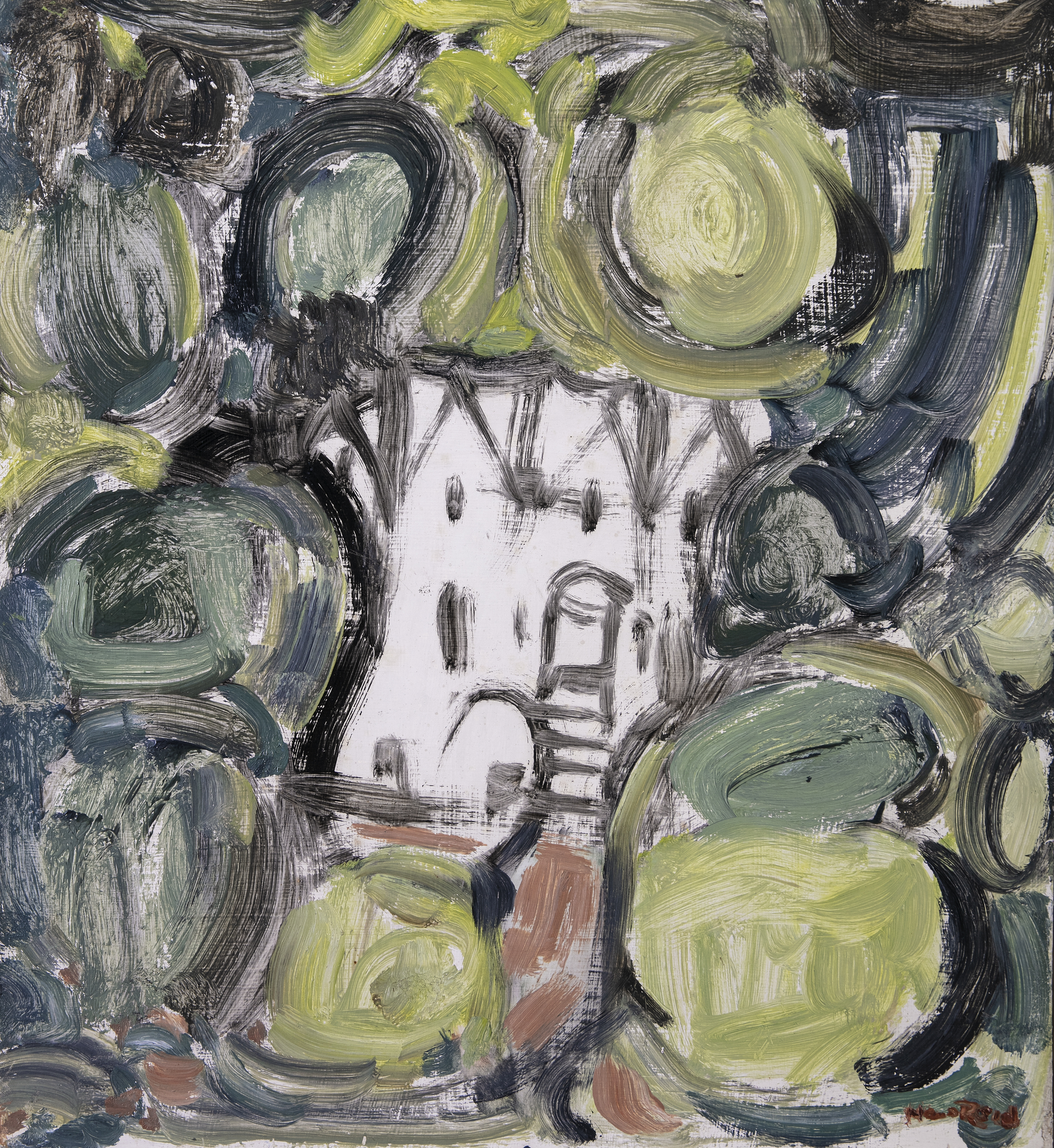 Lot 52 - Nano Reid (1900-1981)Secluded Mansion (1973)Oil on board, 61 x 56cm (24 x 22)SignedExhibited: The