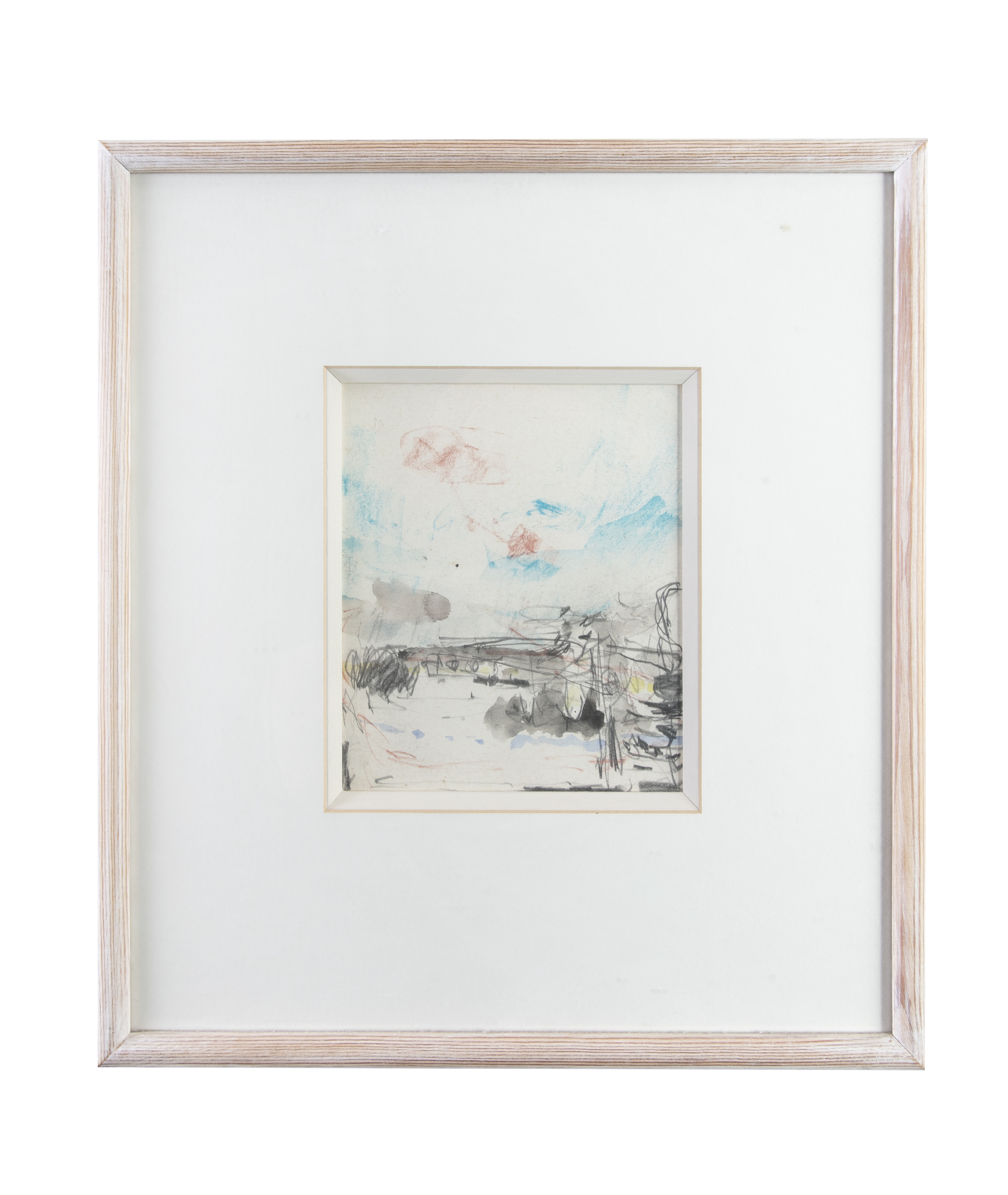 Lot 80 - Basil Blackshaw HRHA RUA (1932-2016)The River FieldMixed media on paper, 18 x 15cm (7 x 6)Signed,