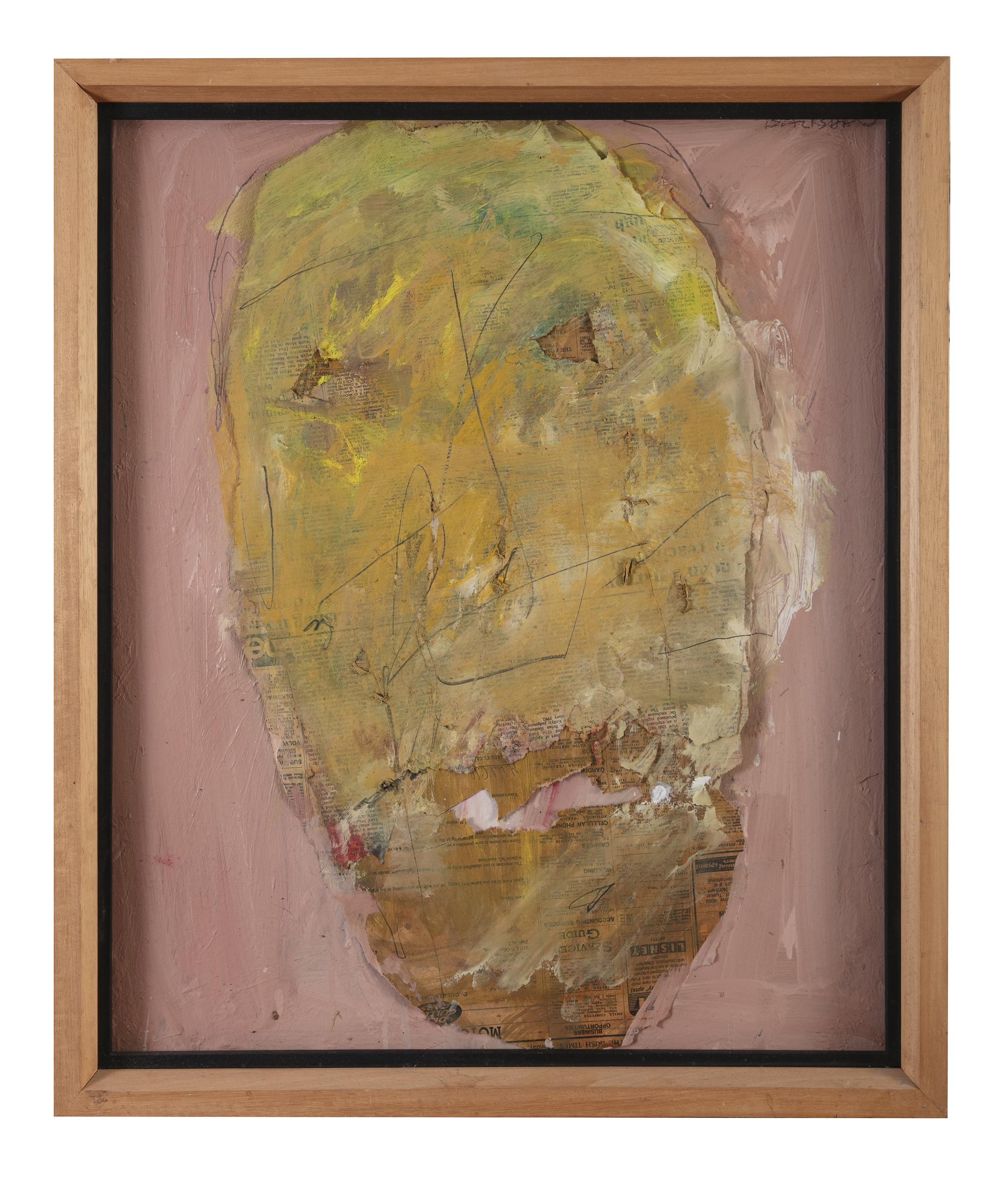Lot 82 - Basil Blackshaw HRHA RUA (1932-2016)Head for HeaneyMixed media collage on canvas, 57.5 x 47.5cm (22¾