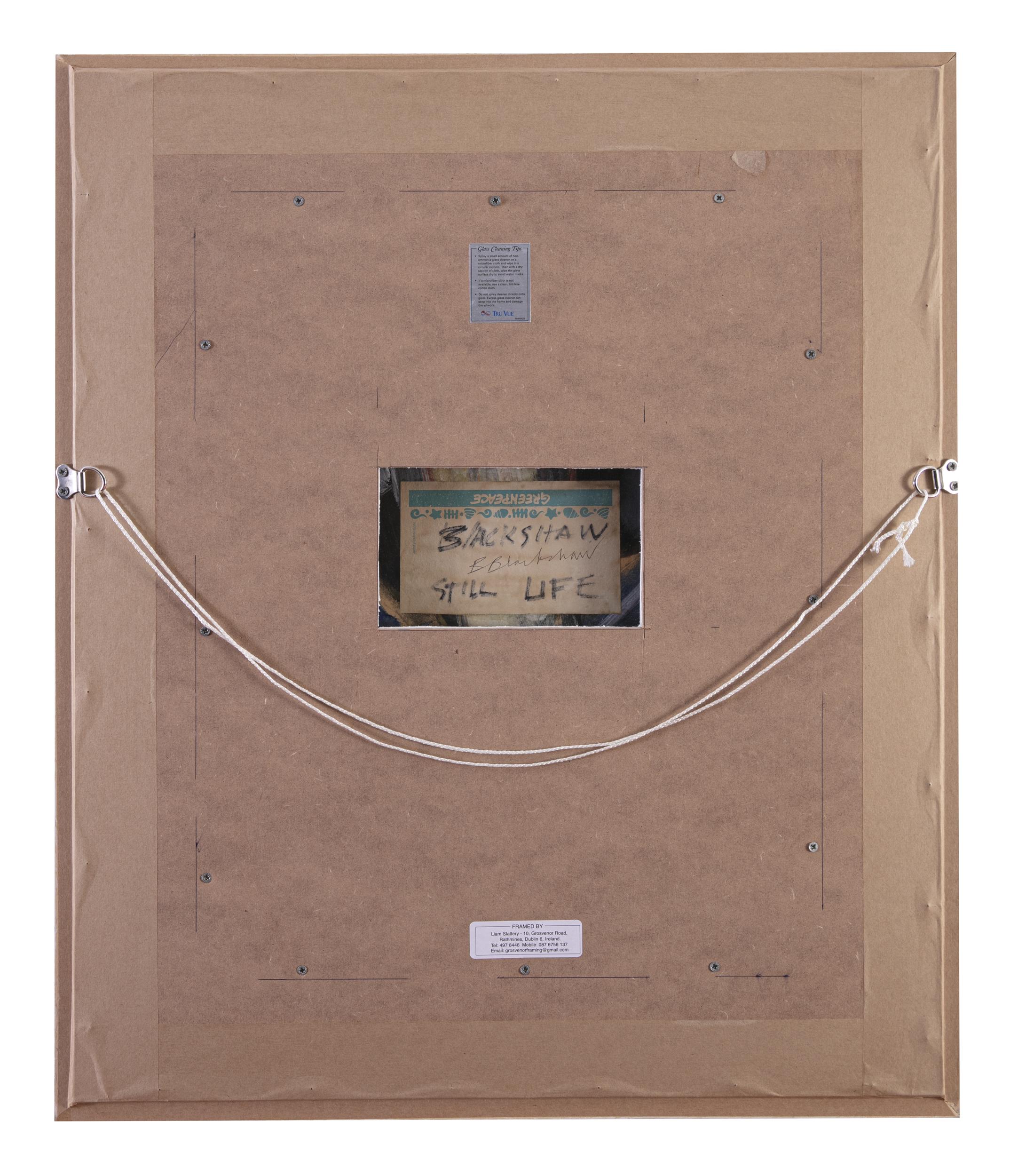 Lot 24 - Basil Blackshaw HRHA RUA (1932-2016)Still Life - Cardboard FlowersOil on board, 51 x 41cm (20 x