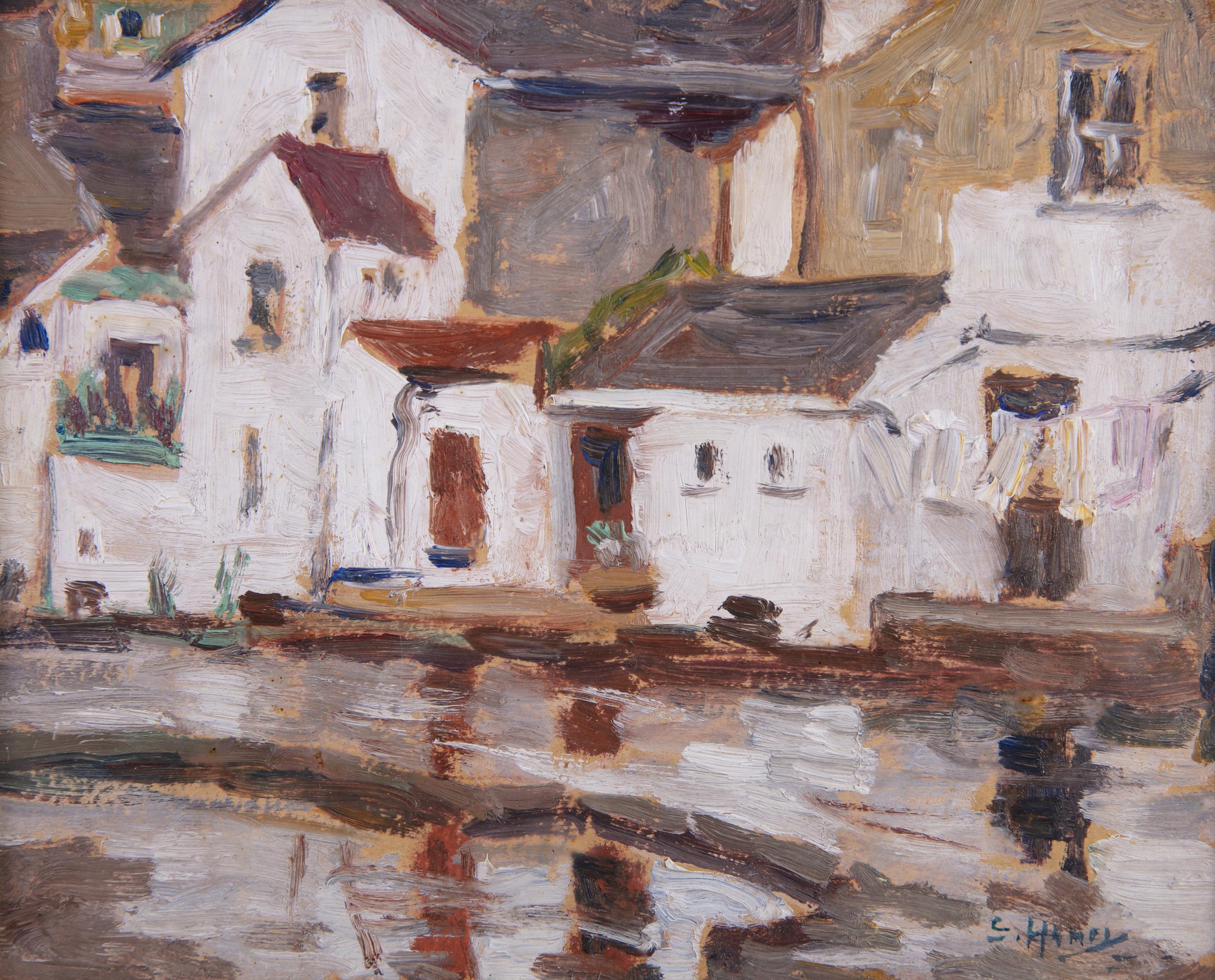 Lot 6 - Grace Henry HRHA (1868-1953)The Falls, EnnistymonOil on board, 14 x 17.5cm (5½ x 6¾)