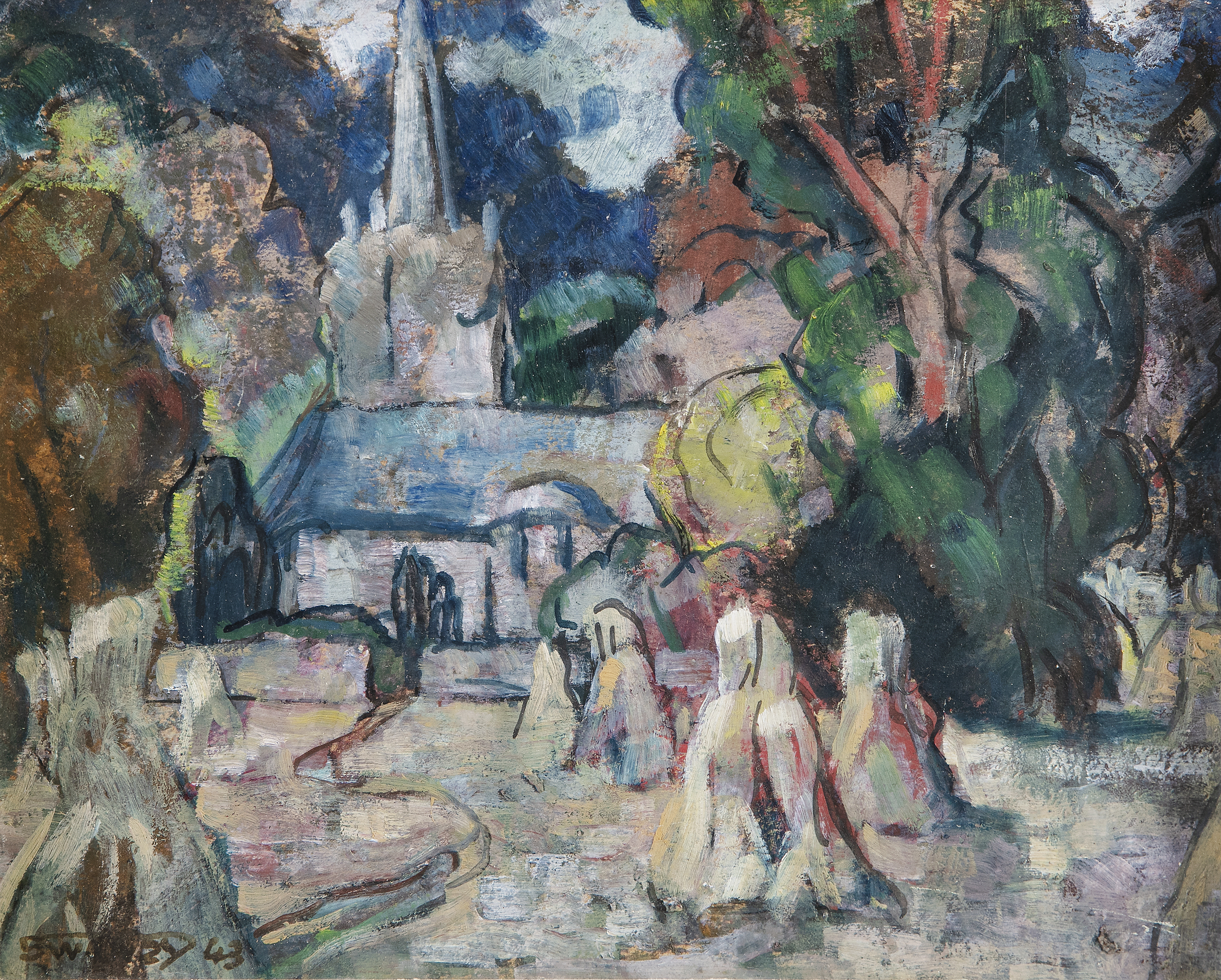 Lot 29 - Mary Swanzy HRHA (1882-1978)St. Doulough's Church, CoolockOil on board, 19.5 x 24.5cm (7¾ x 9½)
