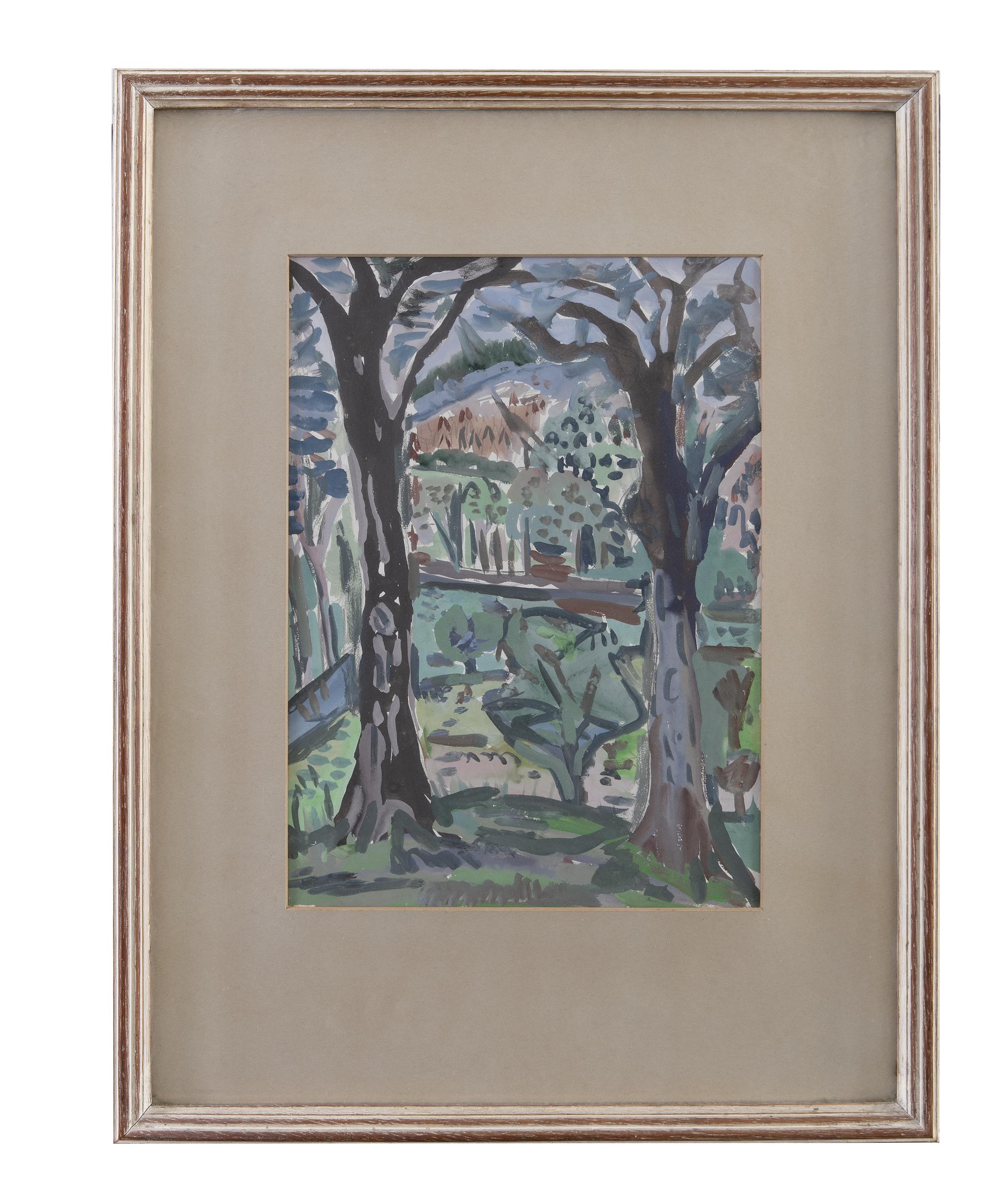 Lot 9 - Evie Hone HRHA (1894-1955)LandscapeGouache, 35 x 25cm (13¾ x 9¾)Provenance: With The Dawson Gallery,