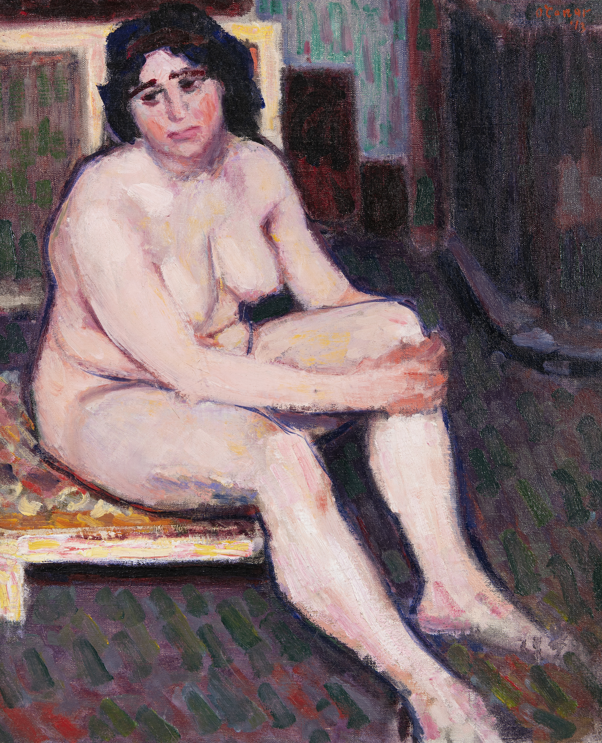 Lot 40 - Roderic O'Conor (1860 - 1940)Nu Brun, Assis or 'Dark-Haired Nude Seated' (1913)Oil on canvas, 65 x