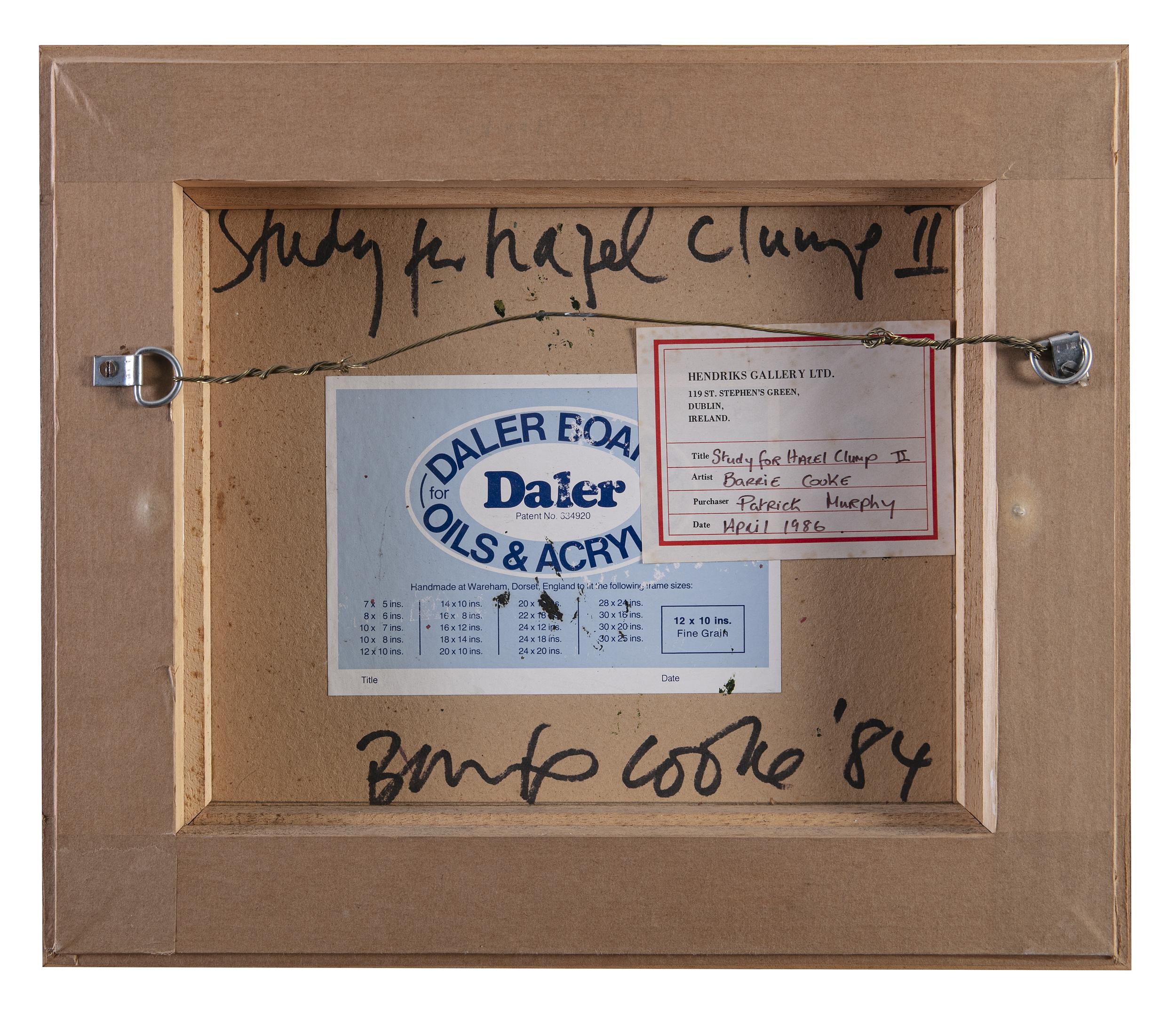 Lot 17 - Barrie Cooke HRHA (1931-2014)Study for Hazel Clump IIOil on board, 25.5 x 30.5cm (10 x 12)Signed,