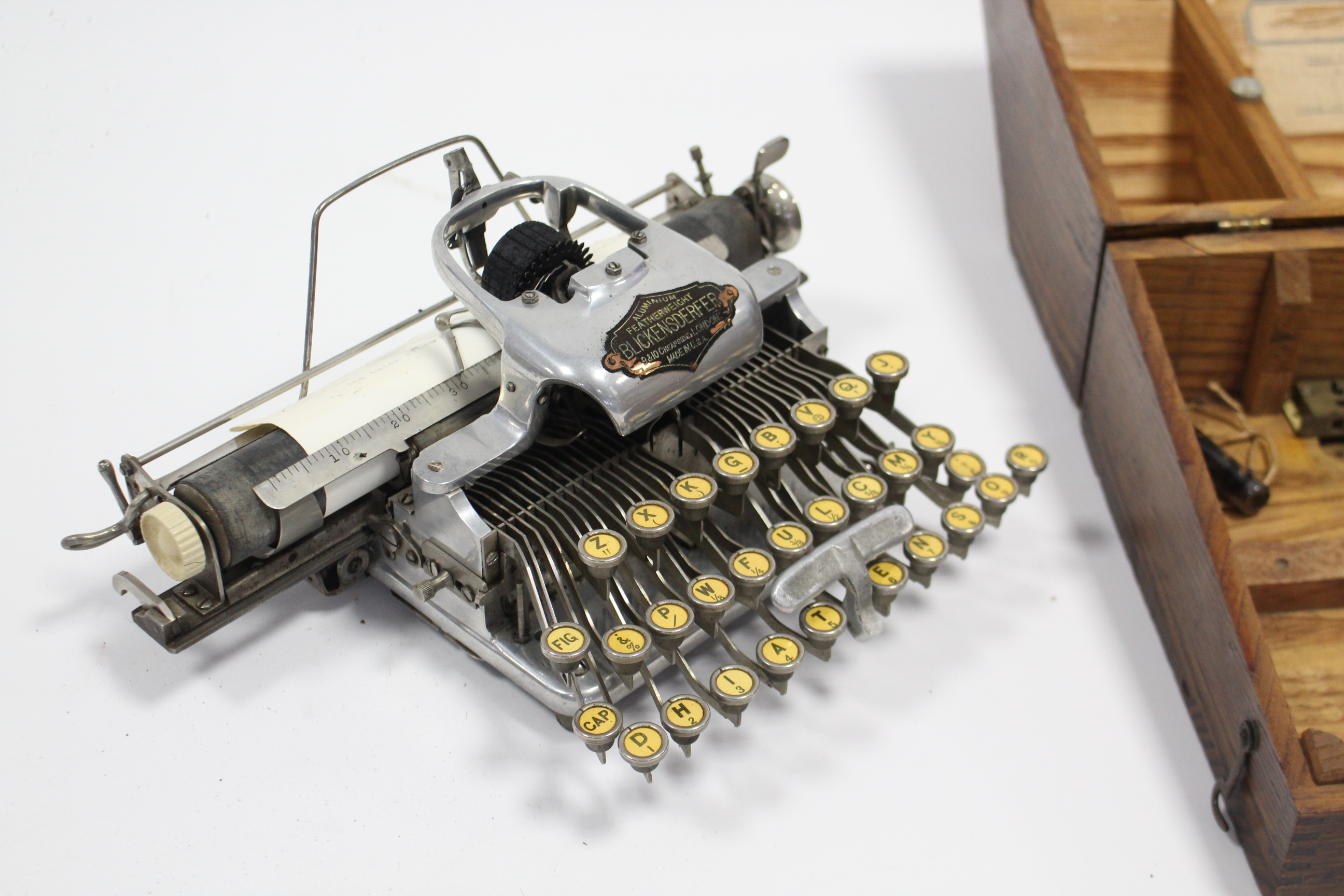 Lot 40 - An American early/mid-20th century Blickensderfer aluminium featherweight portable typewriter,