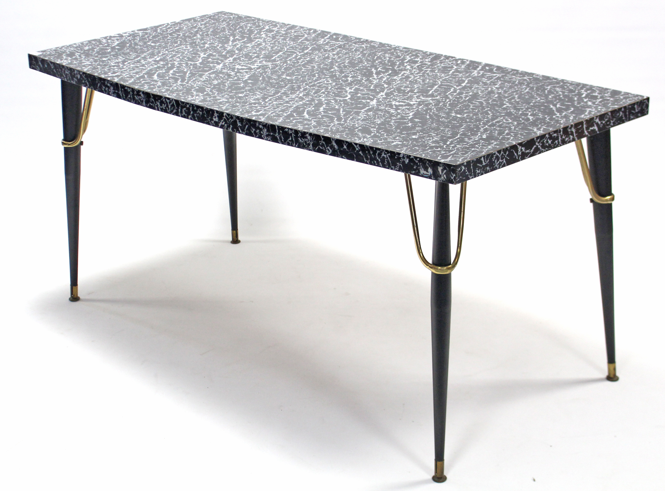Lot 151 - A rectangular extending kitchen table with black marble effect Formica top, pull-out action & a