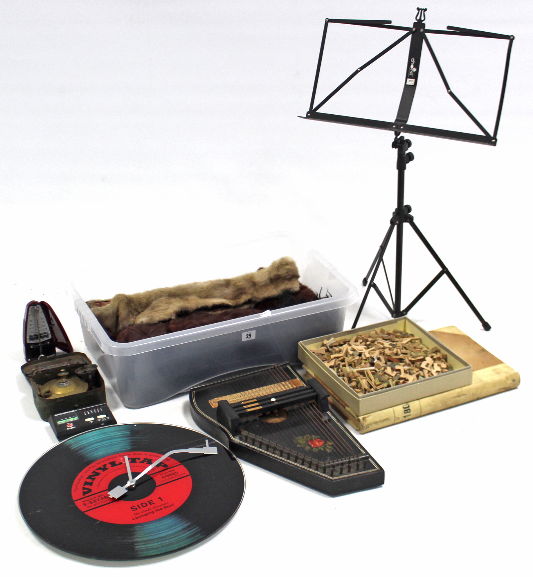 Lot 29 - A West German autoharp; a plywood jig-saw puzzle; a sheet-music stand; & sundry other items.
