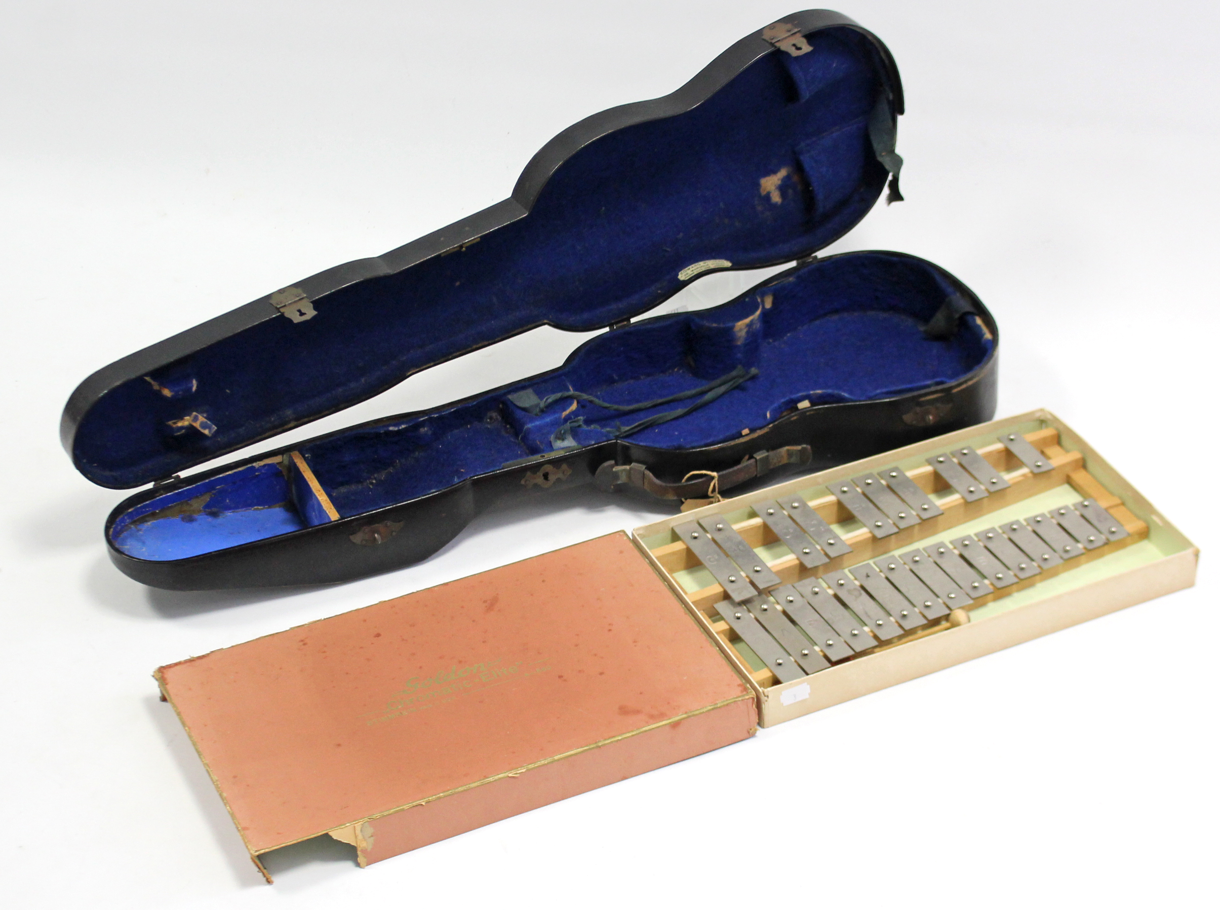 """Lot 36 - A Goddon """"Chromatic-Elite"""" xylophone, boxed; & a black lacquered wooden violin case."""