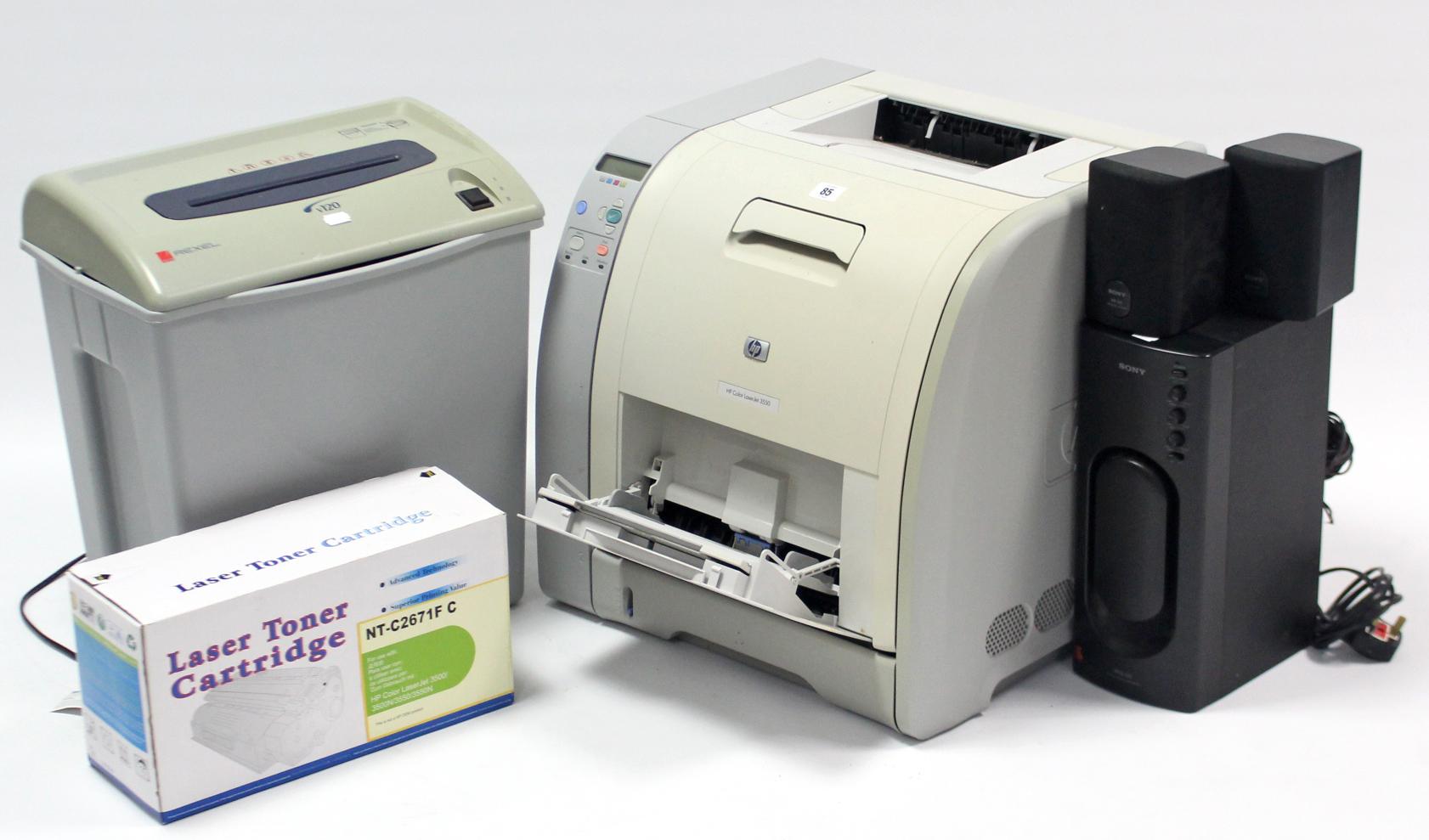 "Lot 85 - A Hewlett Packard ""HP Color Laser Jet 3550"" printer; & a Rexel ""V120"" electric paper shredder;"