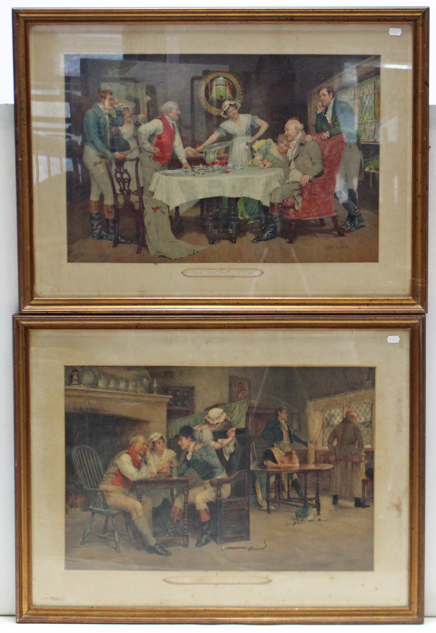 "Lot 244 - Two large coloured prints – interior figure scenes – titled: ""The Reconciliation"", 16½"" x 24¾"", & """