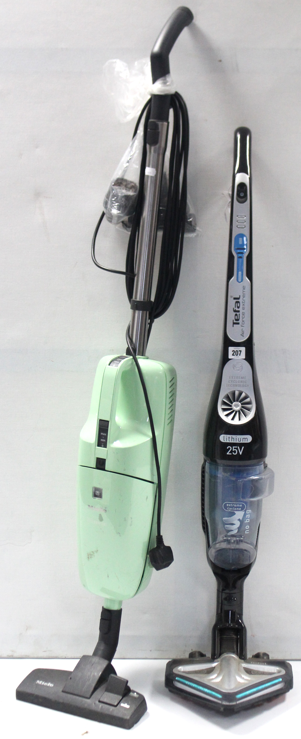 "Lot 207 - A Tefal ""Air Force Extreme"" 25V cordless vacuum cleaner; & a Miele ""Alternative"" upright vacuum"