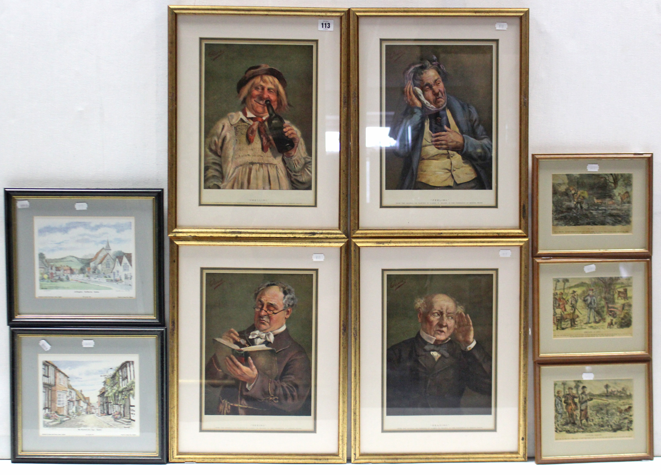 Lot 113 - Nine various coloured prints, each in glazed frame.