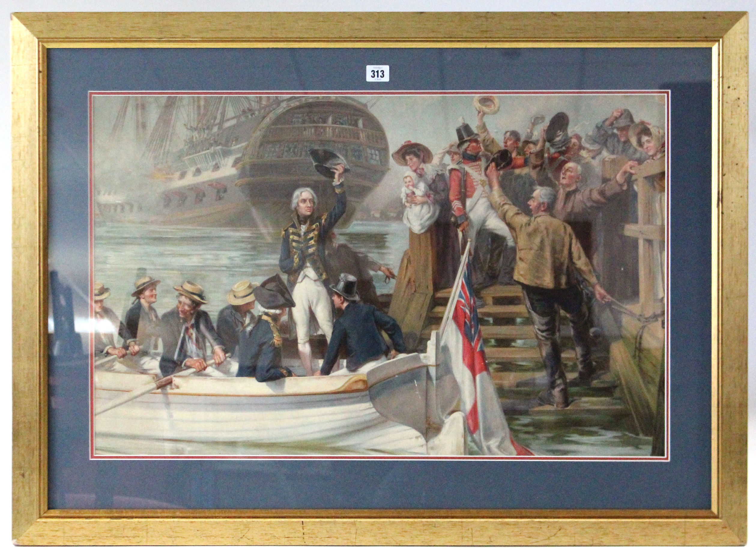 "Lot 313 - A chromolithograph depicting Nelson leaving a harbour, 28½"" x 39½""."