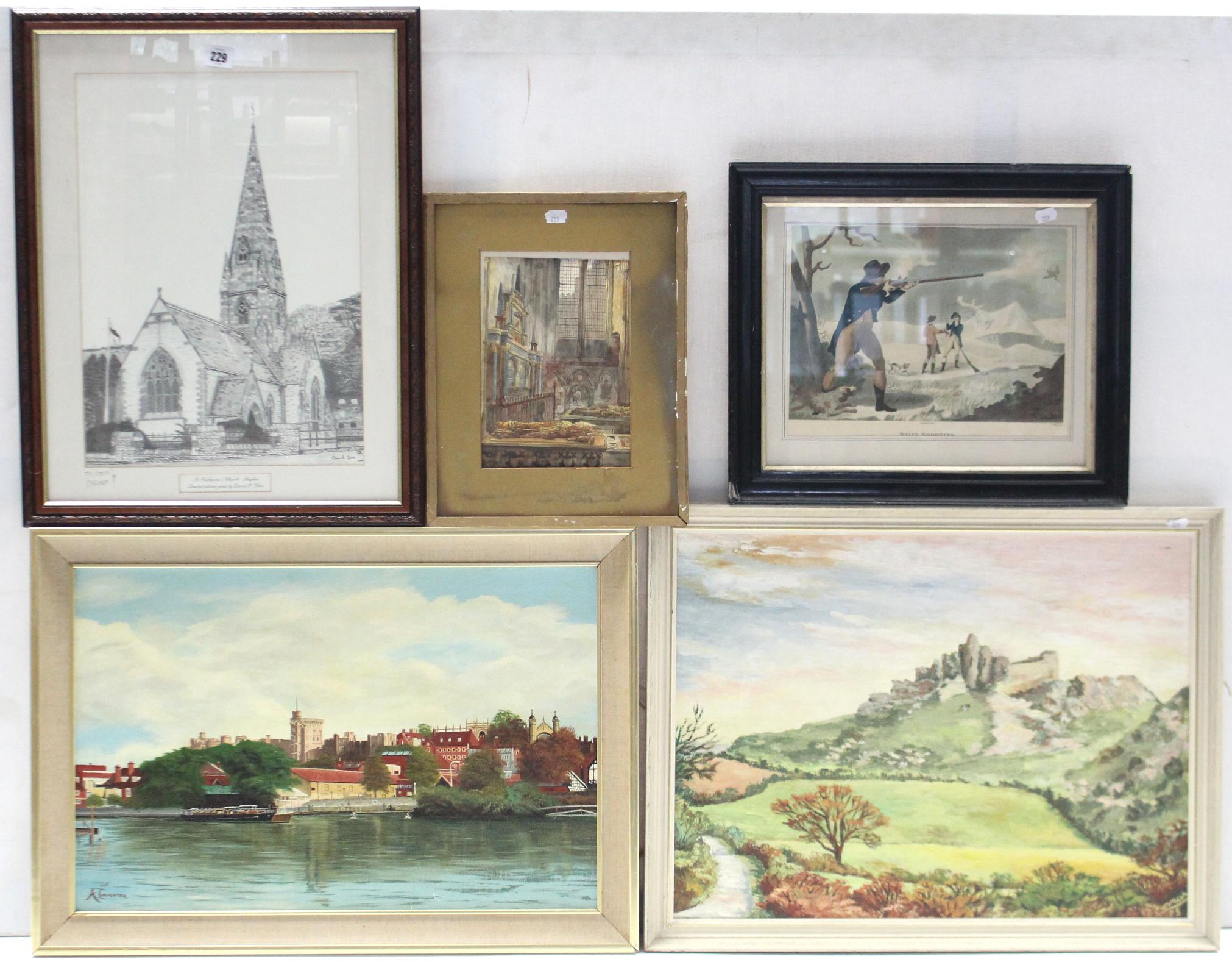 Lot 229 - Various decorative paintings & prints.