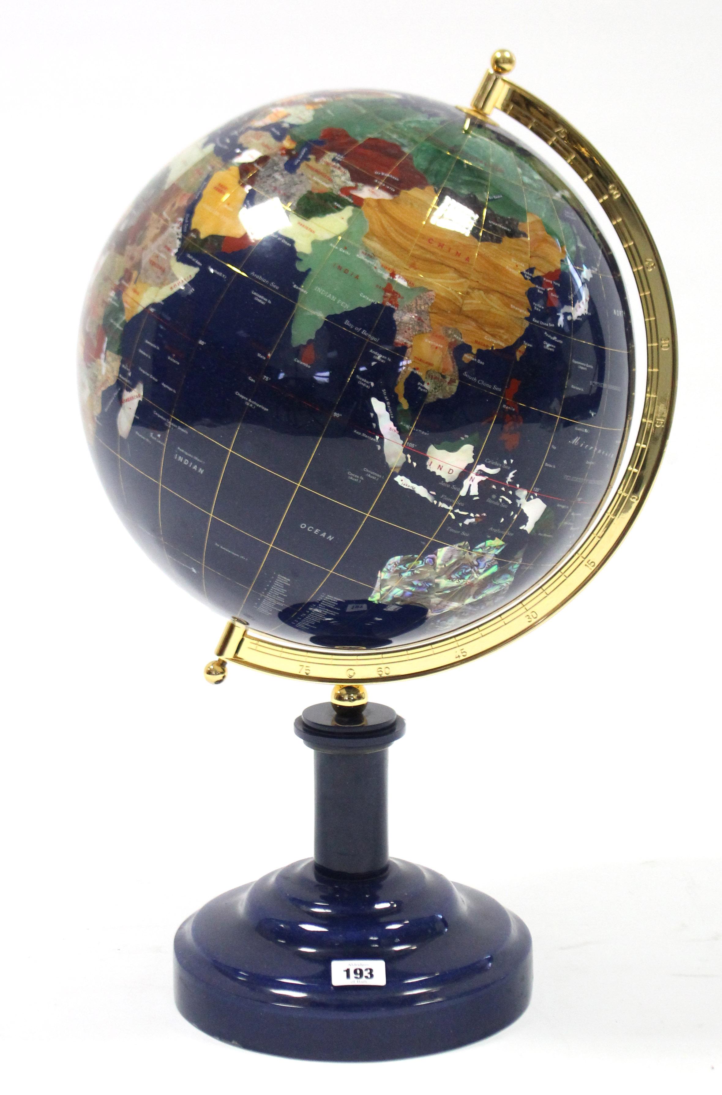 Lot 193 - A modern semi-precious coloured hardstone terrestrial globe on blue-finish stepped circular plinth
