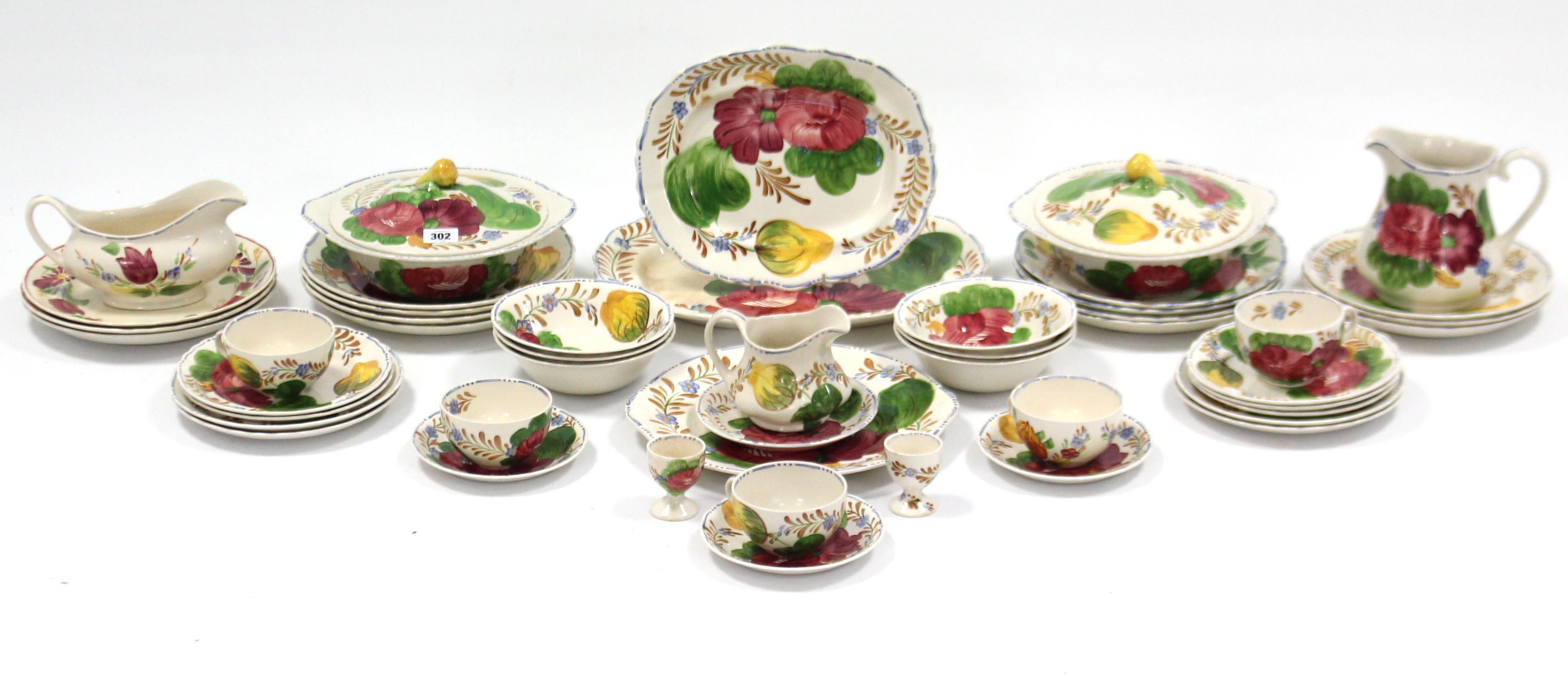 """Lot 302 - A Simpsons Solian ware pottery """"Belle Fiore"""" pattern forty eight piece part dinner & tea service,"""