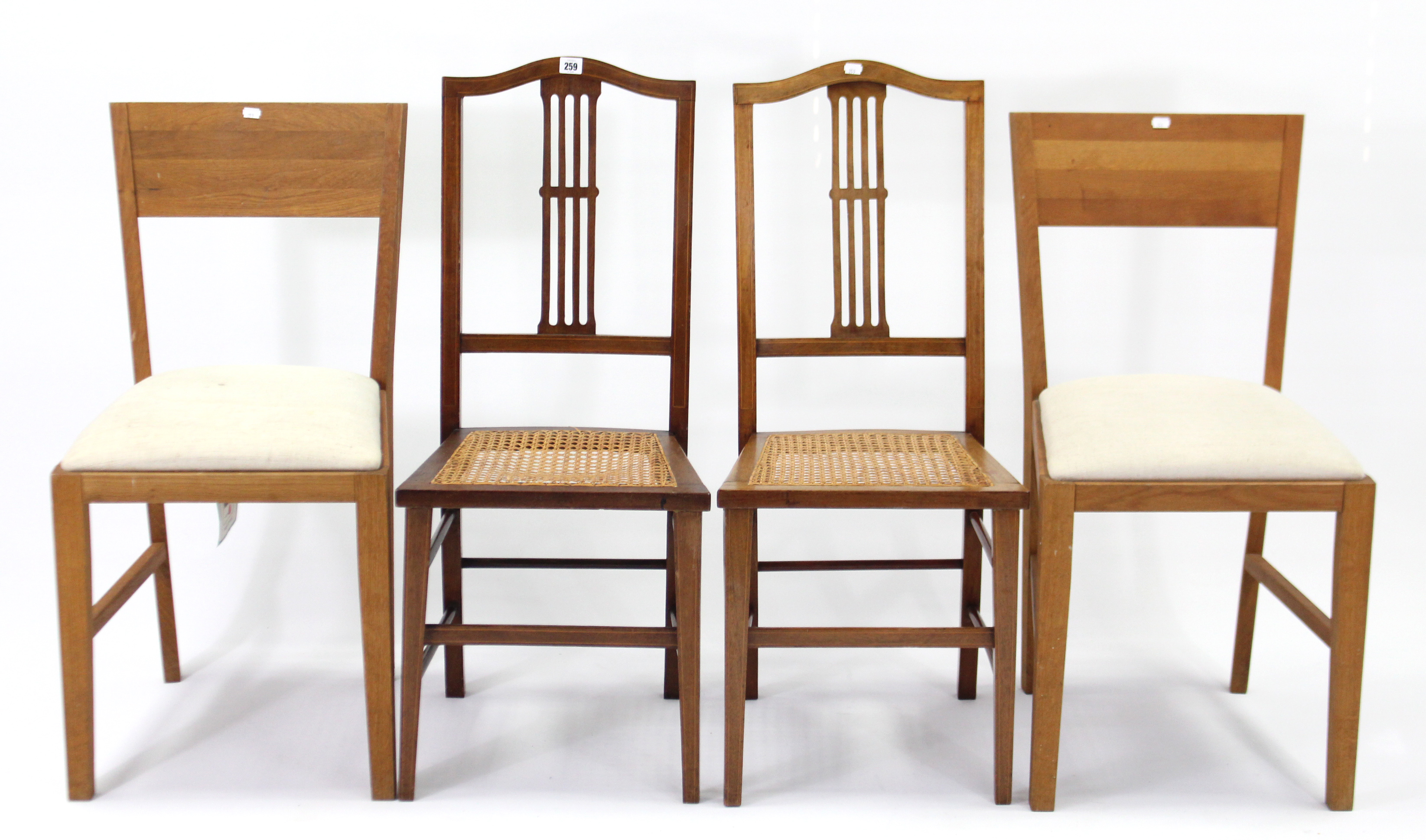 Lot 259 - A pair of Edwardian inlaid-mahogany splat-back occasional chairs, with woven cane seats & on