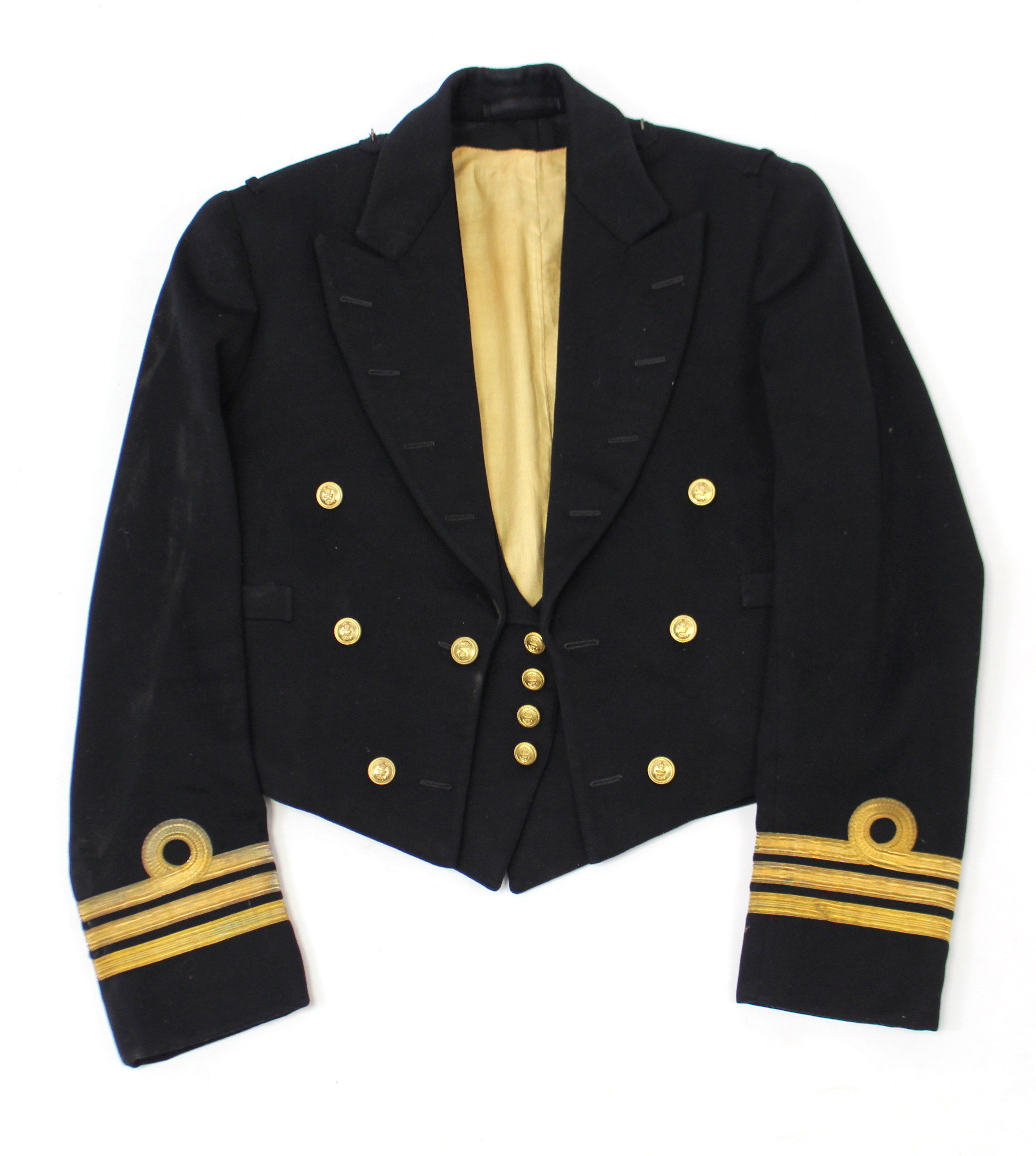 Lot 114 - A British naval commander's dress jacket & waistcoat.