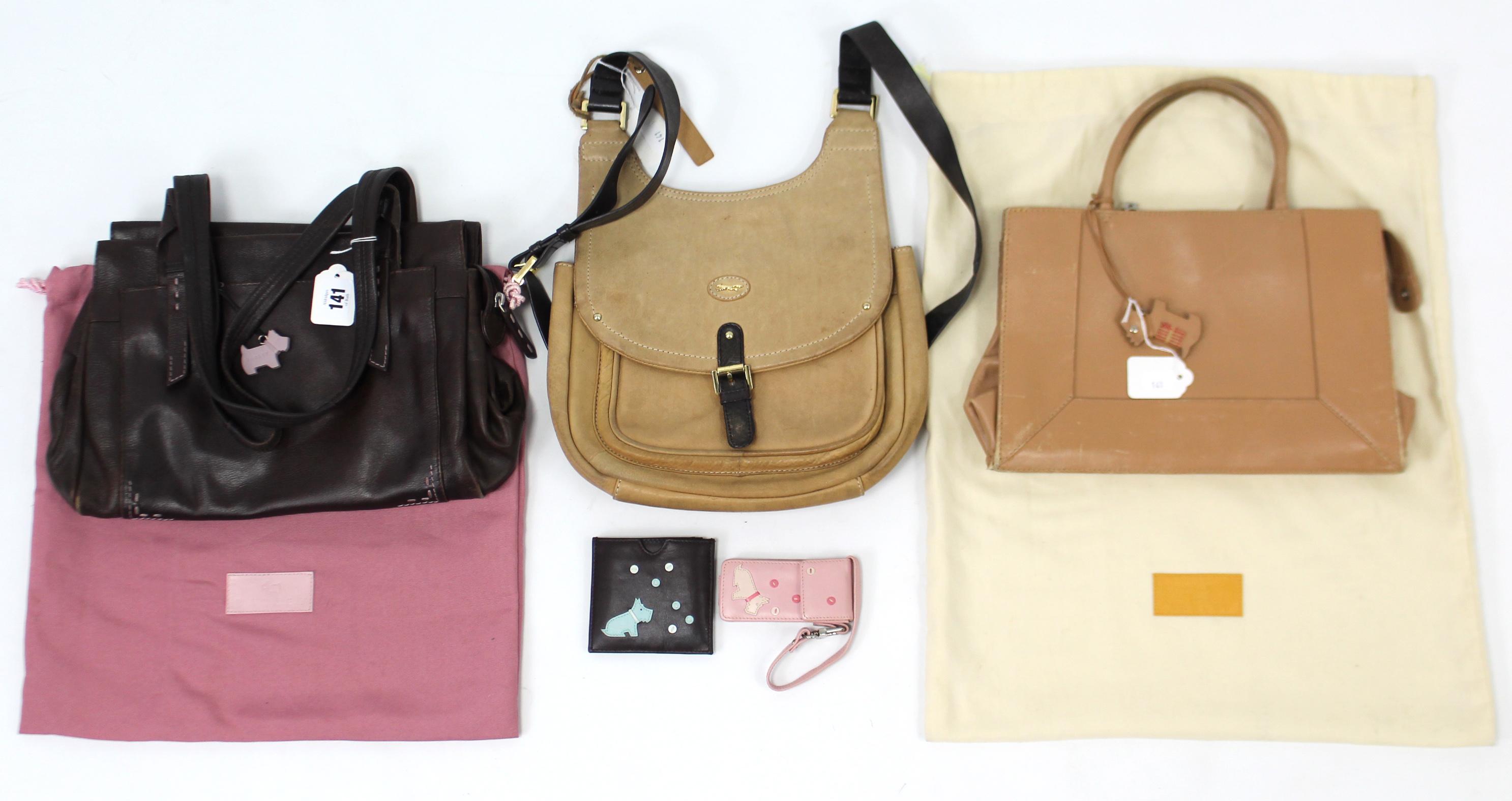 Lot 141 - A Paul Costelloe tan leather ladies' handbag; & two Radley ladies' handbags.