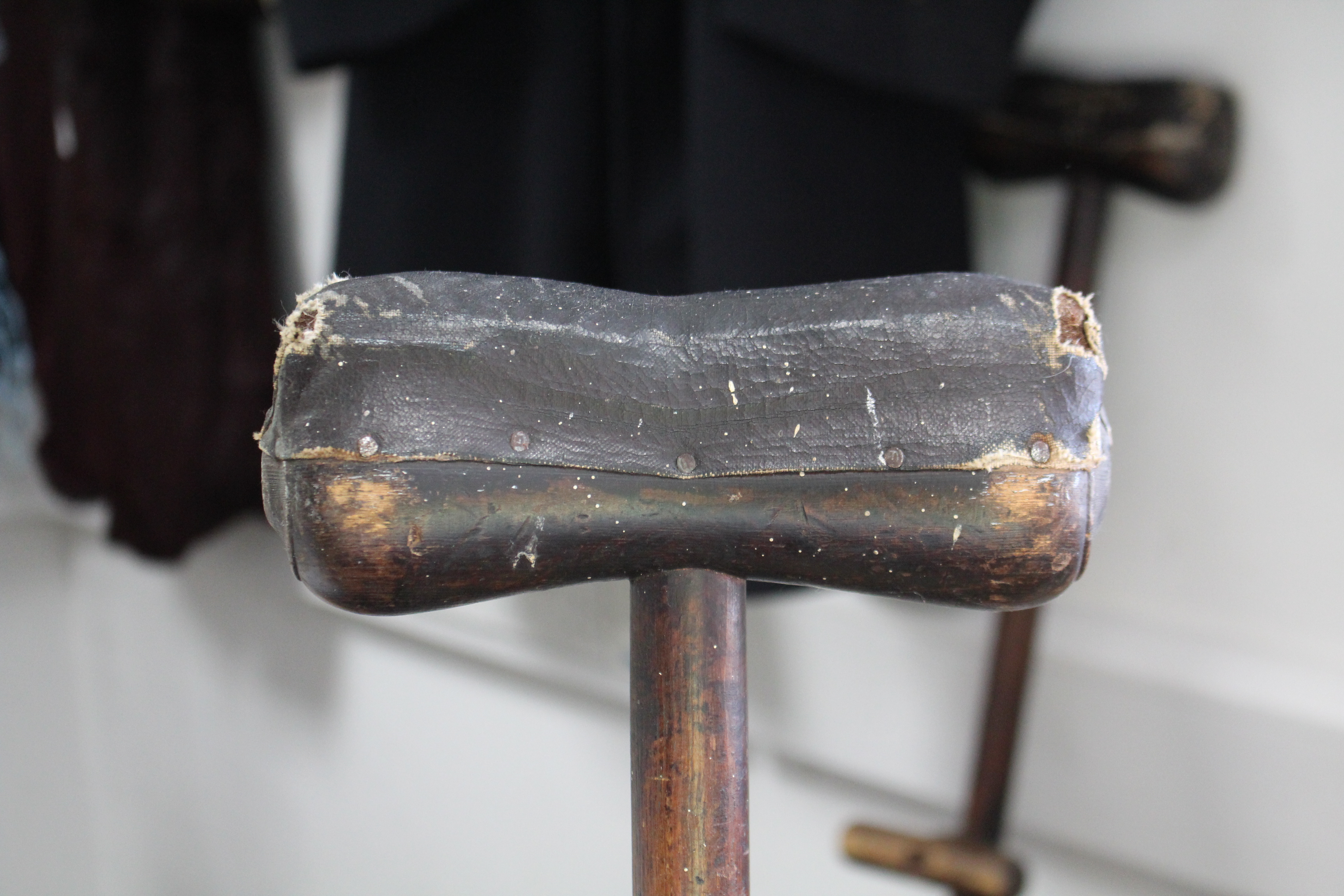 """Lot 115 - A pair of WWI treen crutches, 51"""" high."""