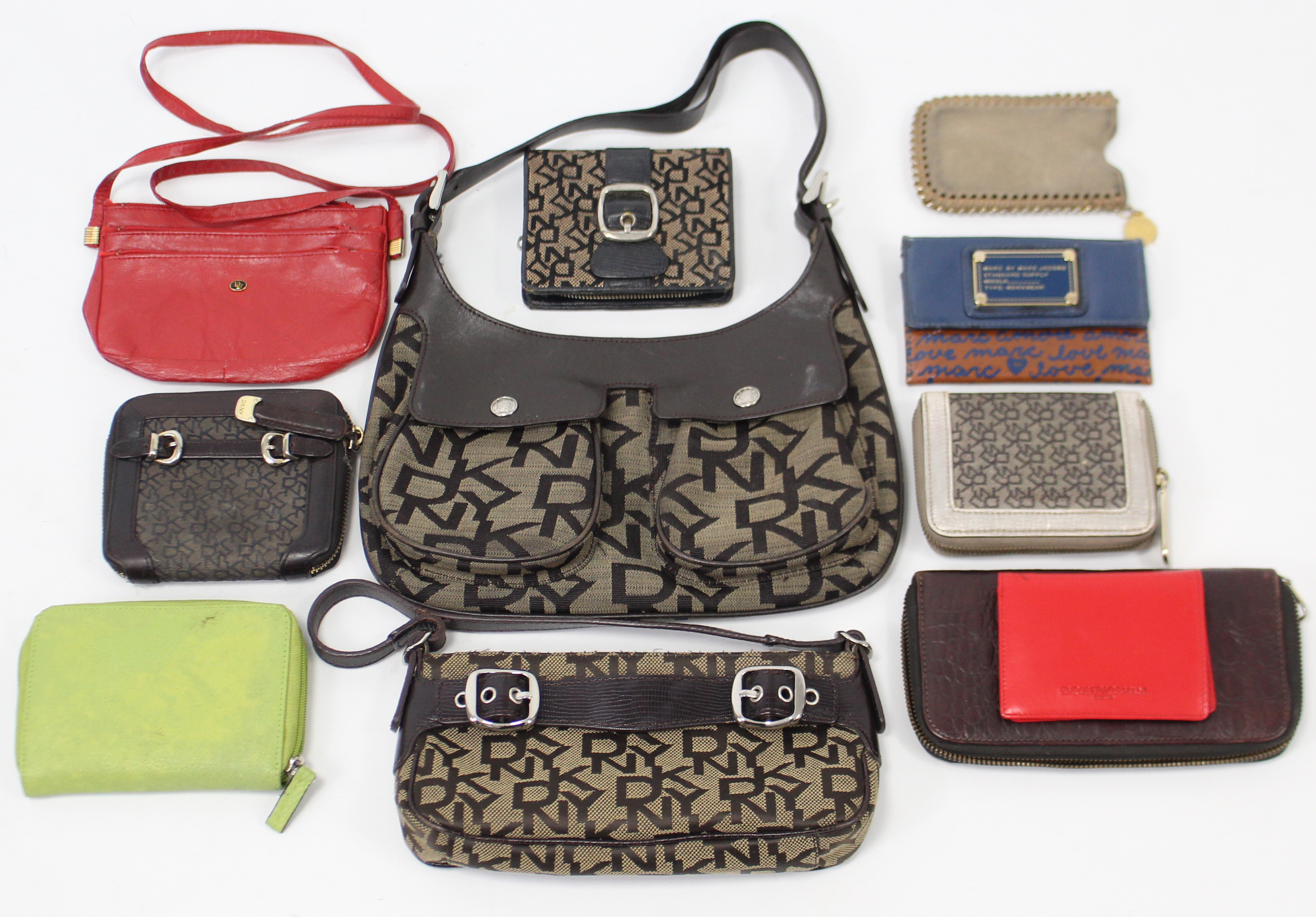 Lot 143 - Two DKNY ladies' handbags; three ditto purses; & six various other purses.