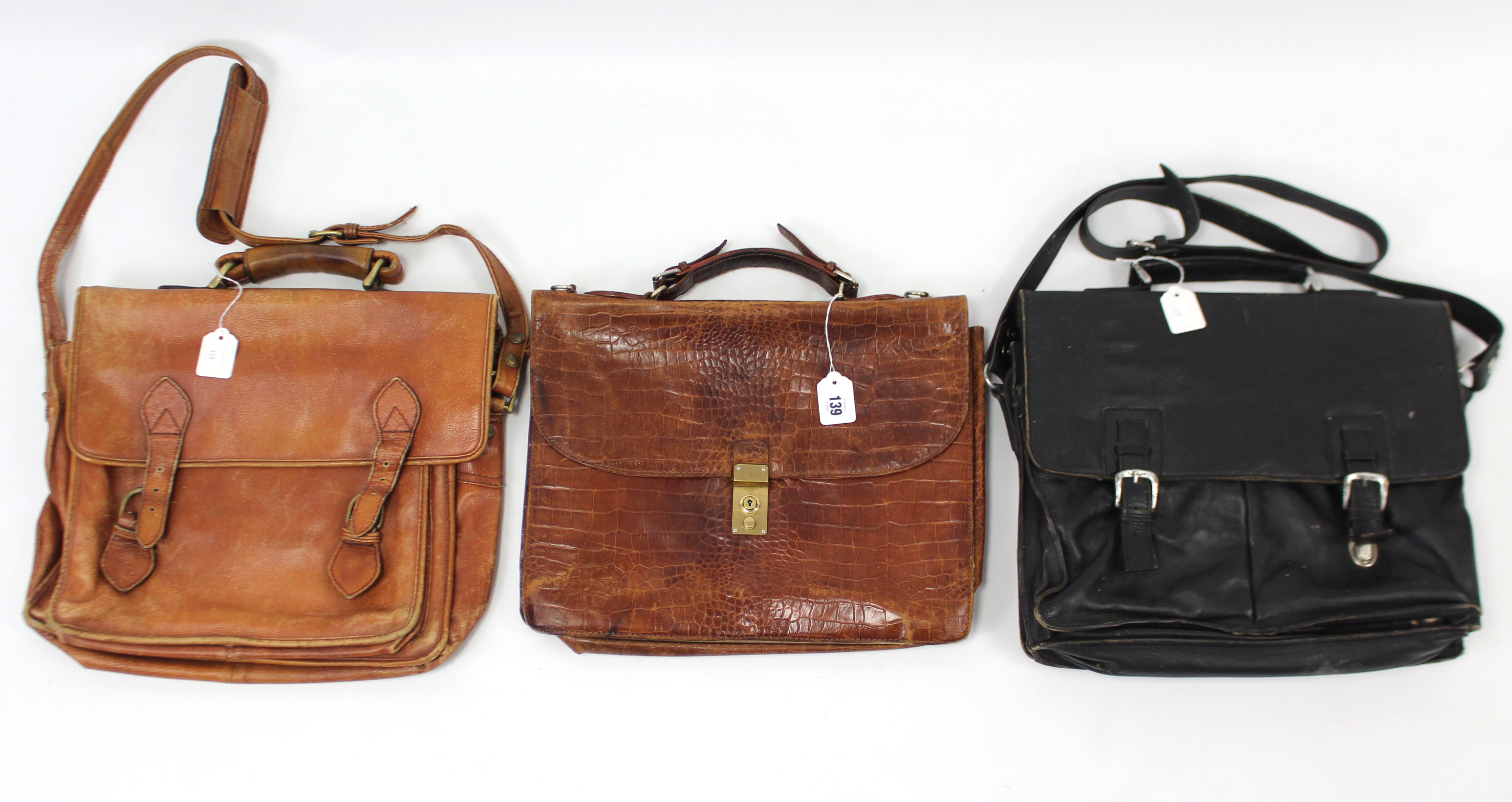 Lot 139 - A Bally crocodile skin gent's bag; & two Hidesign gent's bags.