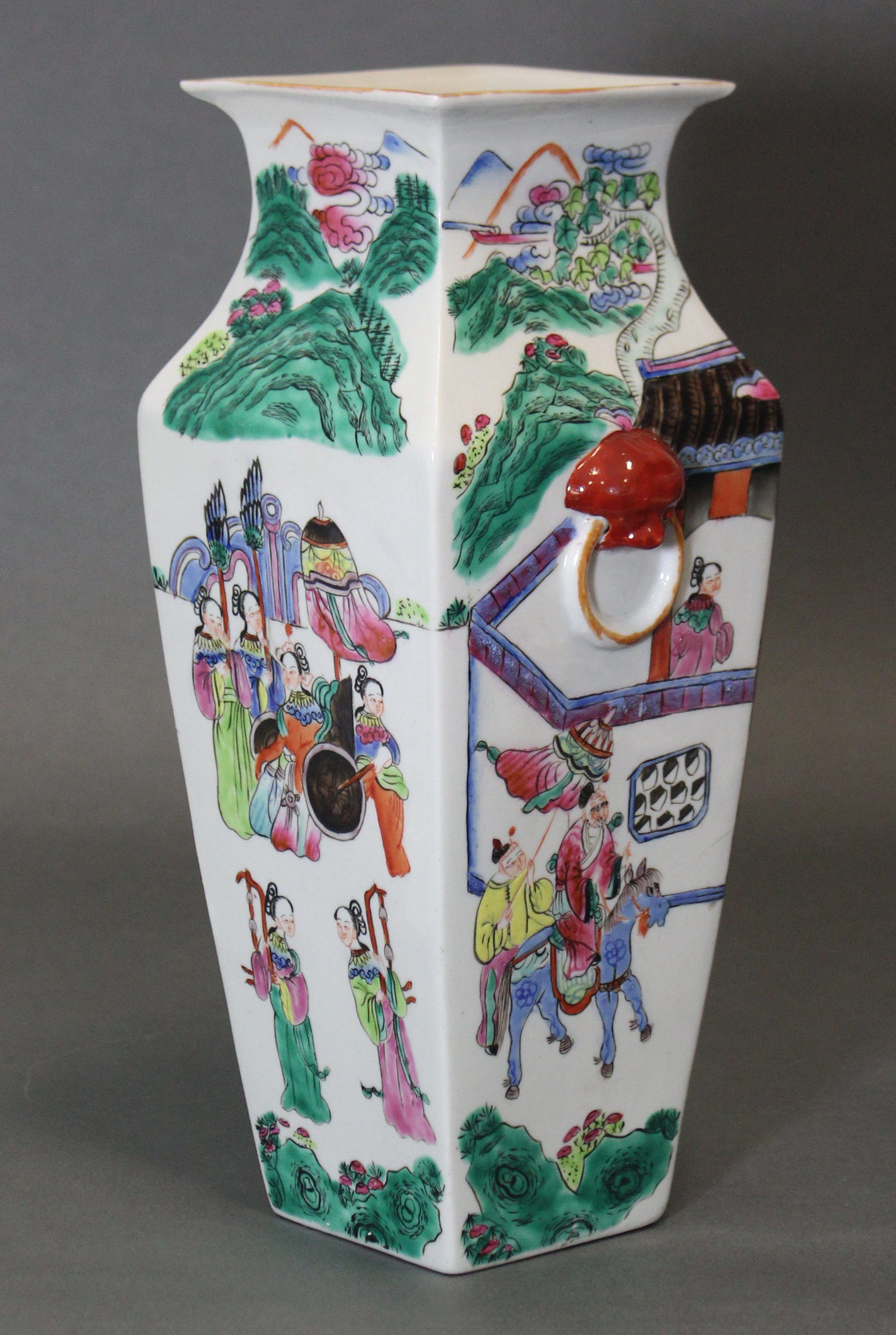 Lot 194 - A Cantonese porcelain vase of square tapered form decorated with figure scenes in rose-verte