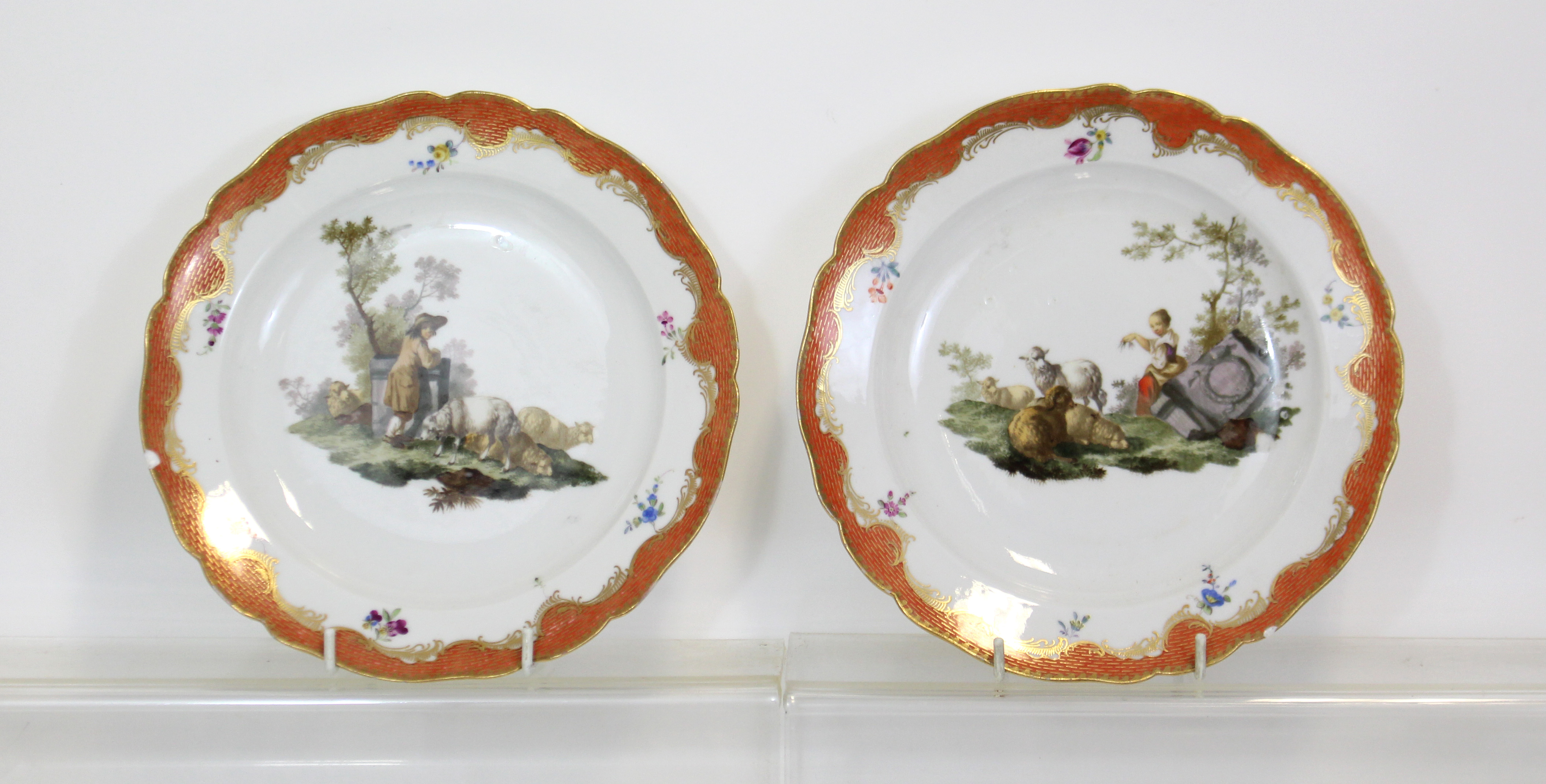 Lot 186 - A MEISSEN MARCOLINI PERIOD PART DESSERT SERVICE, comprising: a pair of comports with applied