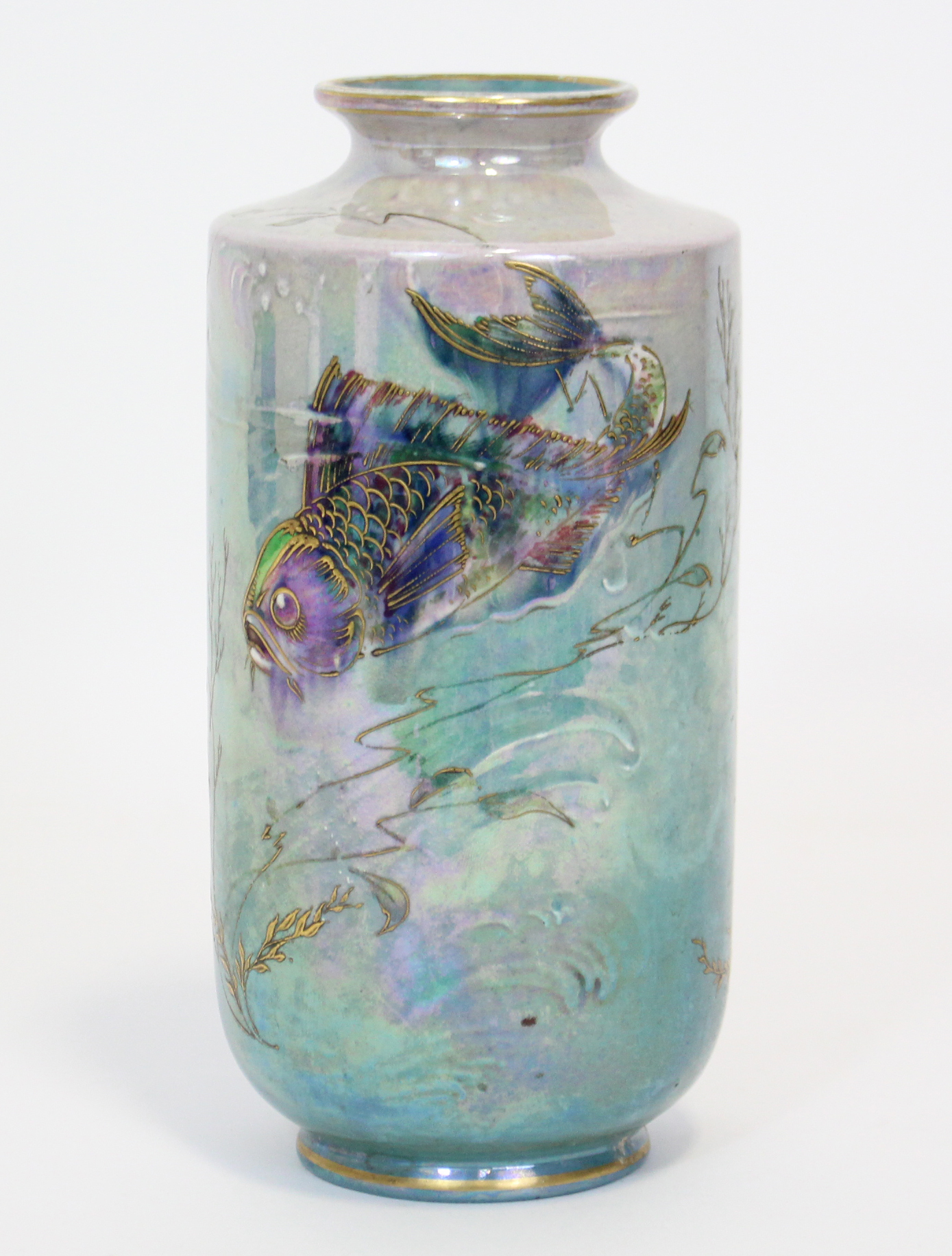 Lot 162 - A Shelley lustre-ware vase by Walter Slater, of cylindrical form with short narrow neck, painted